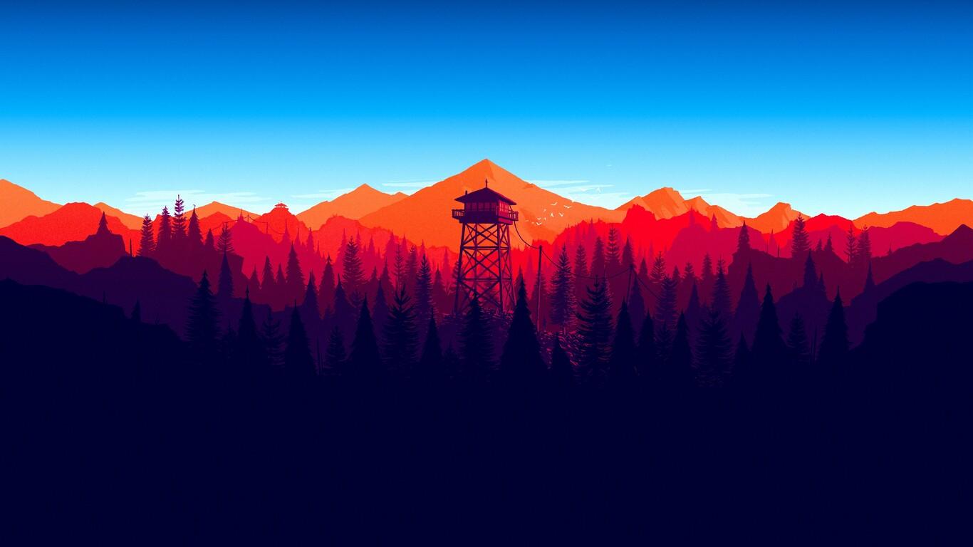 1366x768 Firewatch Forest Mountains Minimalism 4k 1366x768