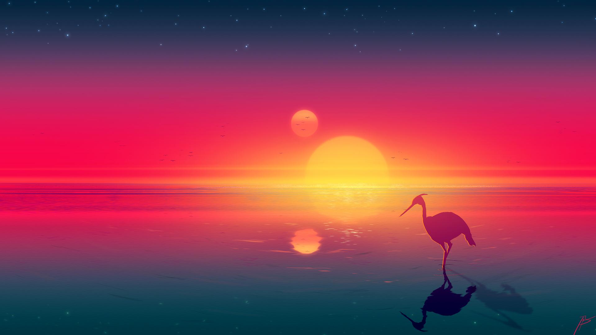 1920x1080 Flamingo Digital Art Laptop Full Hd 1080p Hd 4k