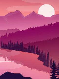 flat-minimal-morning-landscape-lake-5k-cp.jpg