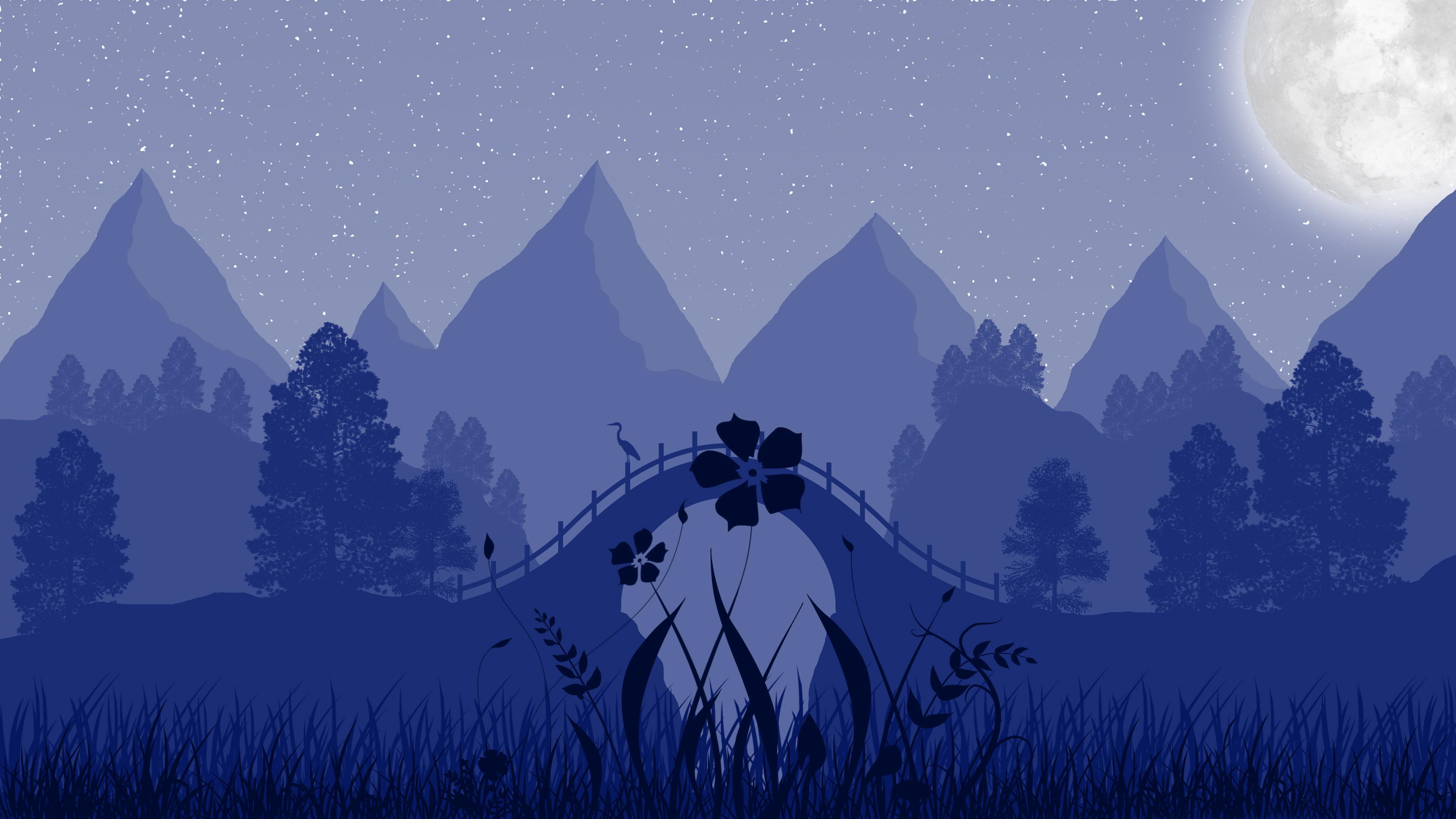 3840x2160 Floaral Night Minimalist 4k 4k HD 4k Wallpapers ...