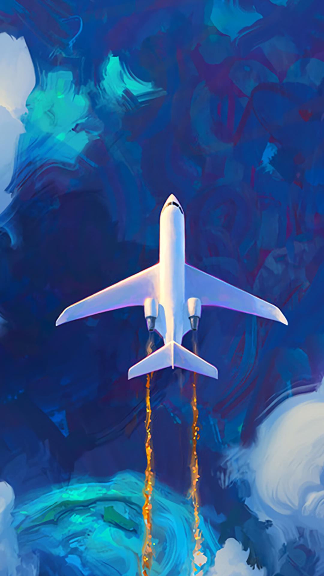 Flying Plane In Clouds Artwork Ux