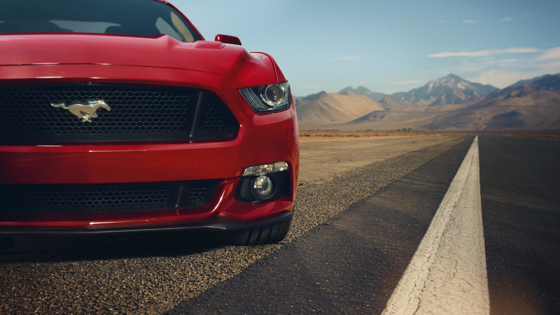 1920x1080 Ford Mustang Gt Red Front Muscle Car Laptop Full Hd 1080p