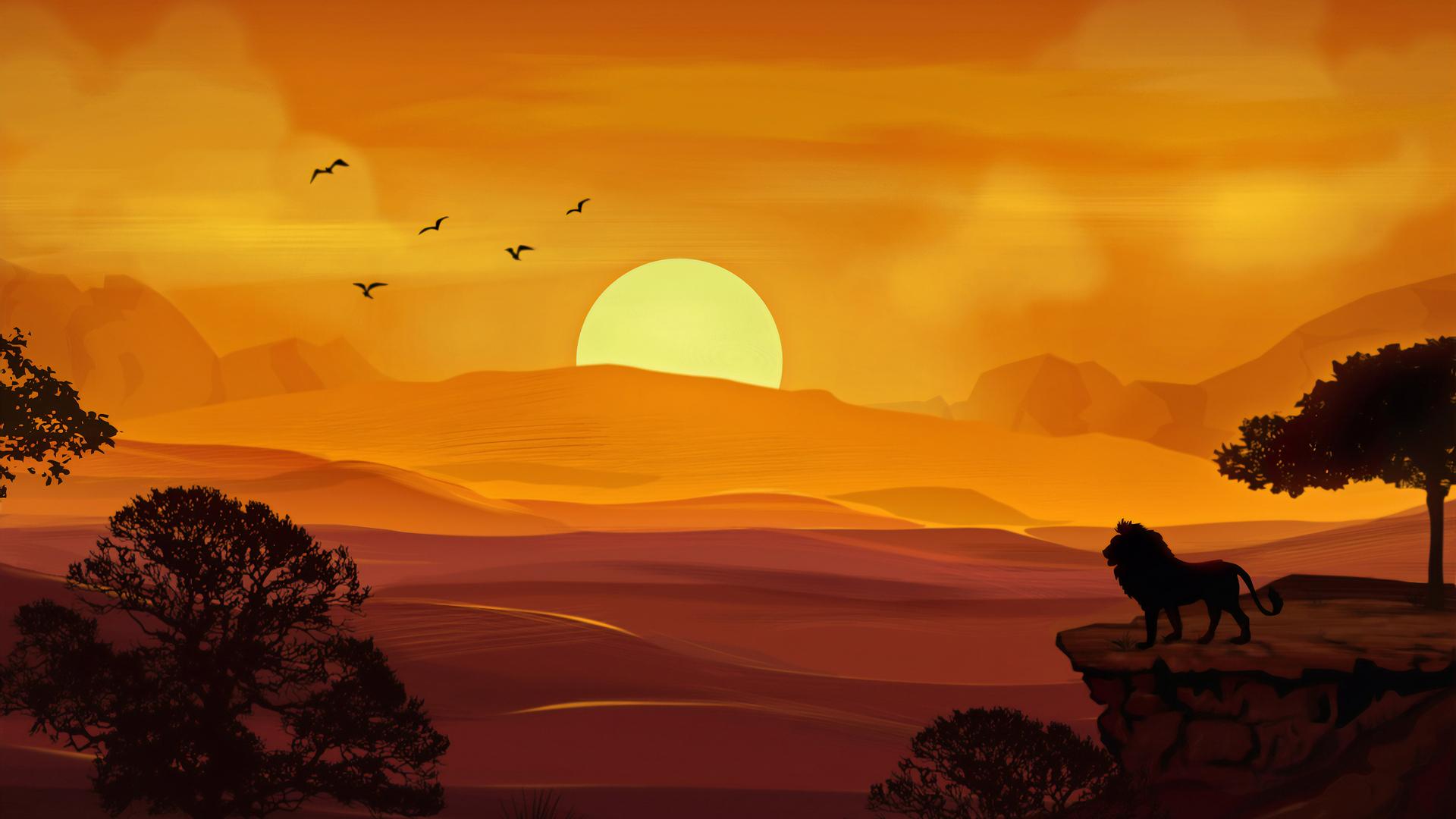 1920x1080 Forest Lion Morning Sunrise Illustration 4k Laptop