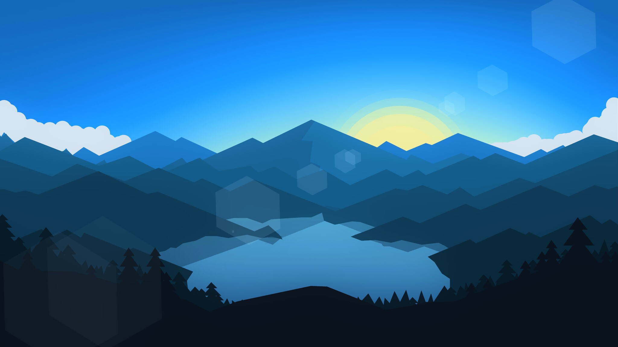 2048x1152 forest mountains sunset cool weather minimalism 2048x1152