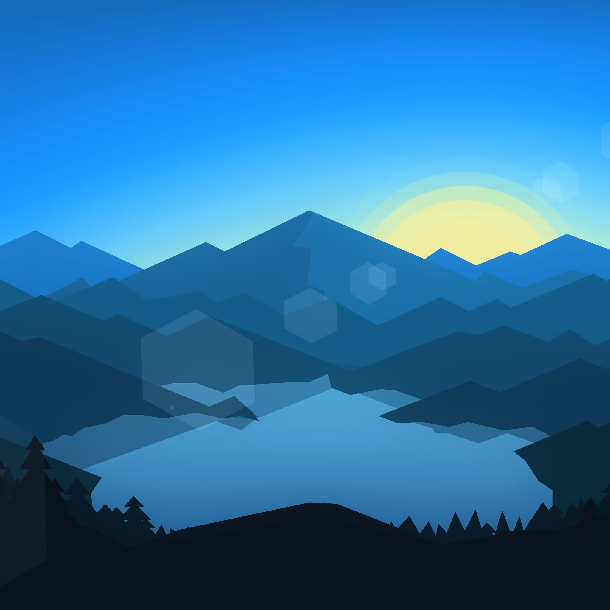 2048x2048 Forest Mountains Sunset Cool Weather Minimalism