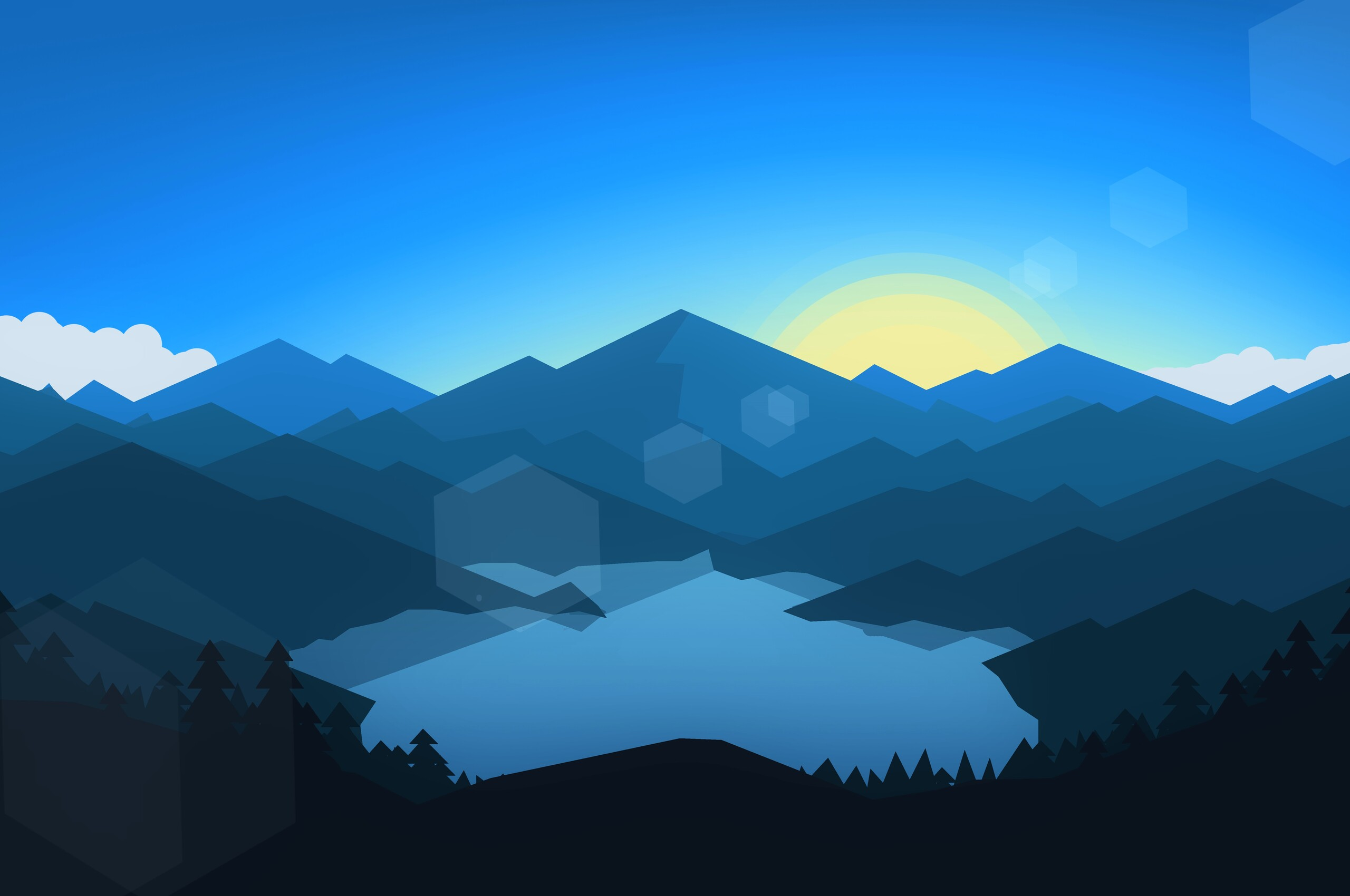 2560x1700 Forest Mountains Sunset Cool Weather Minimalism ...