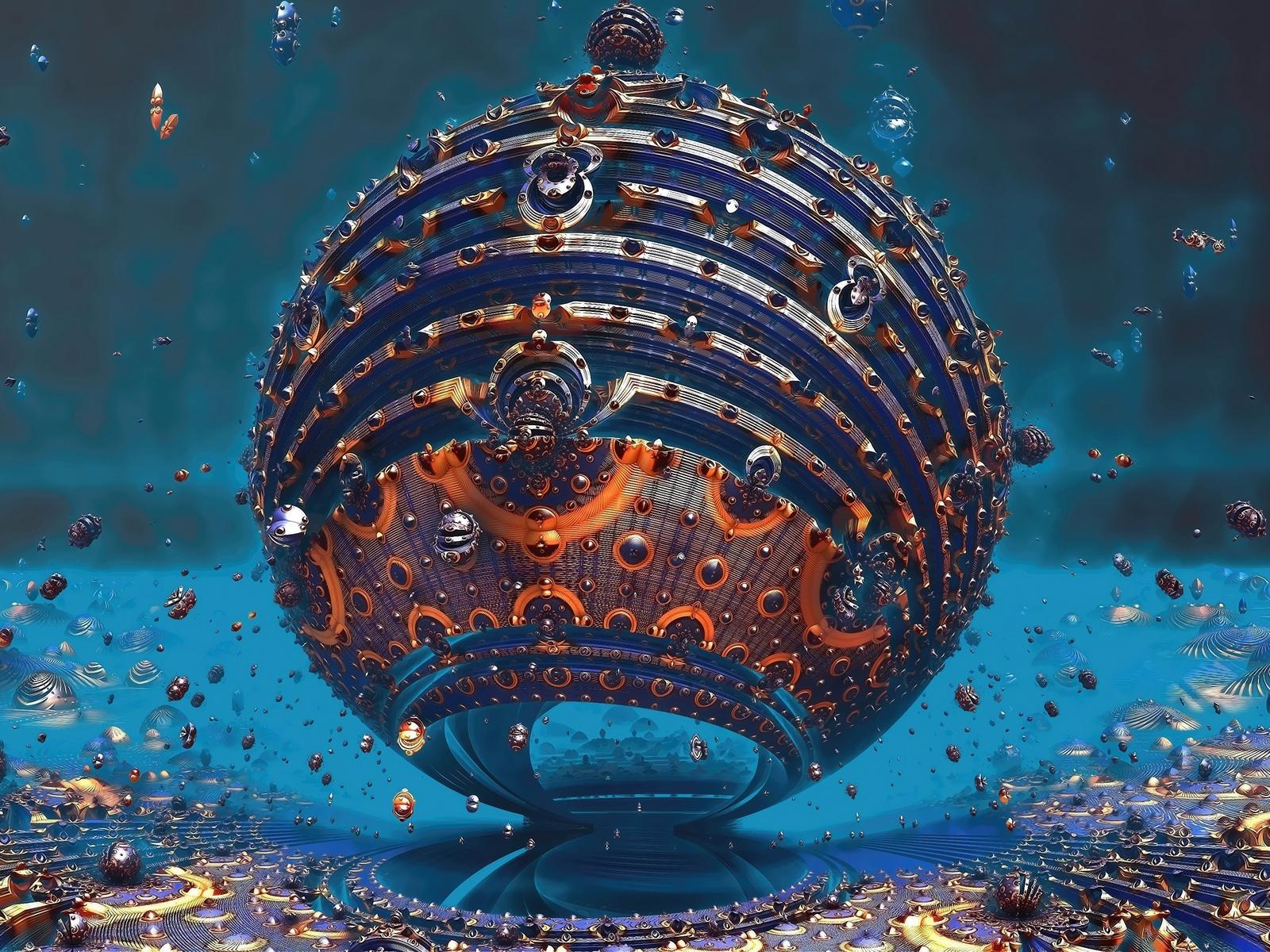 1600x1200 Fractal Sphere 3d 4k 1600x1200 Resolution Hd 4k