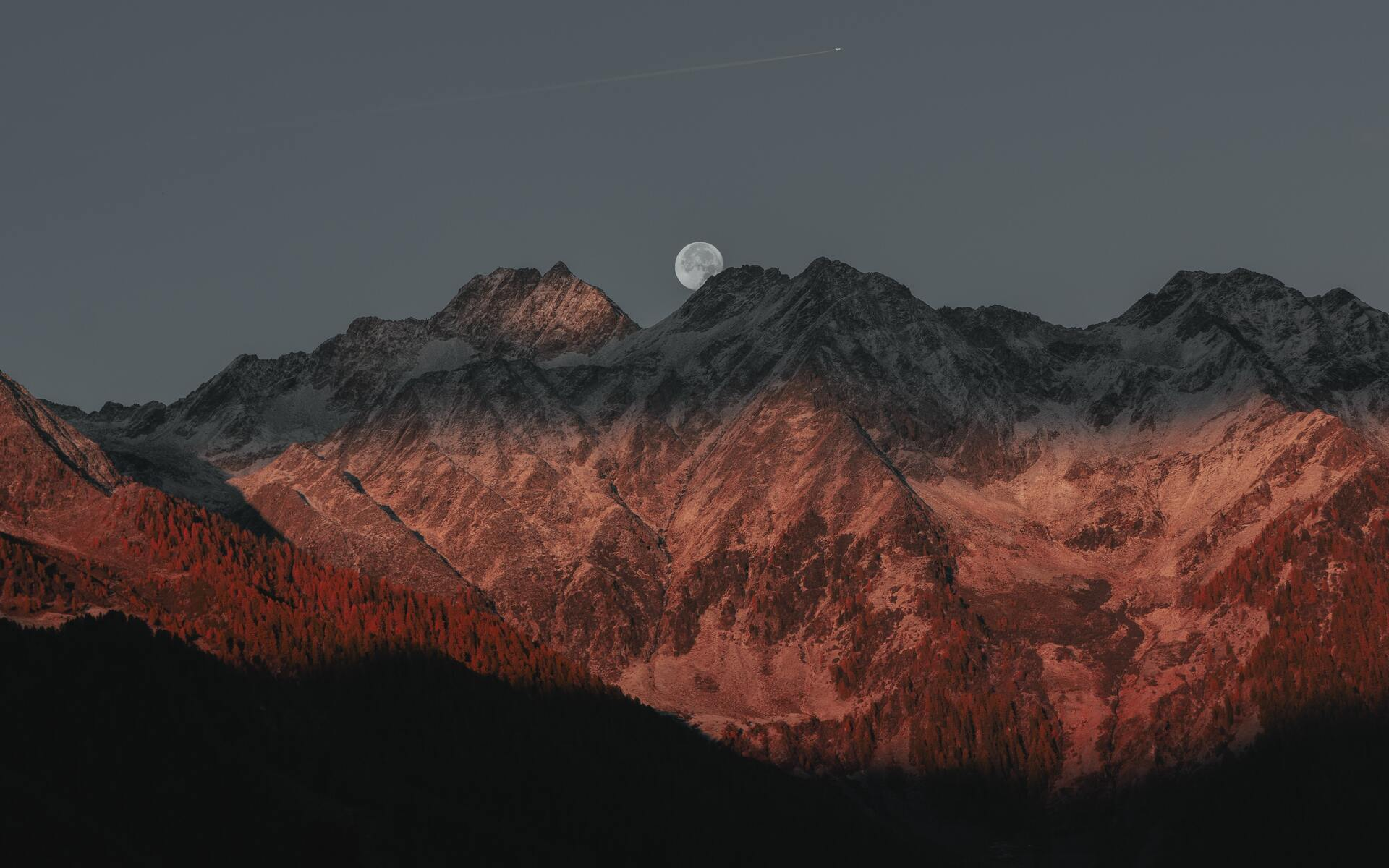 1920x1200 Full Moon Behind Mountain Dark Evening Late Sunset 5k