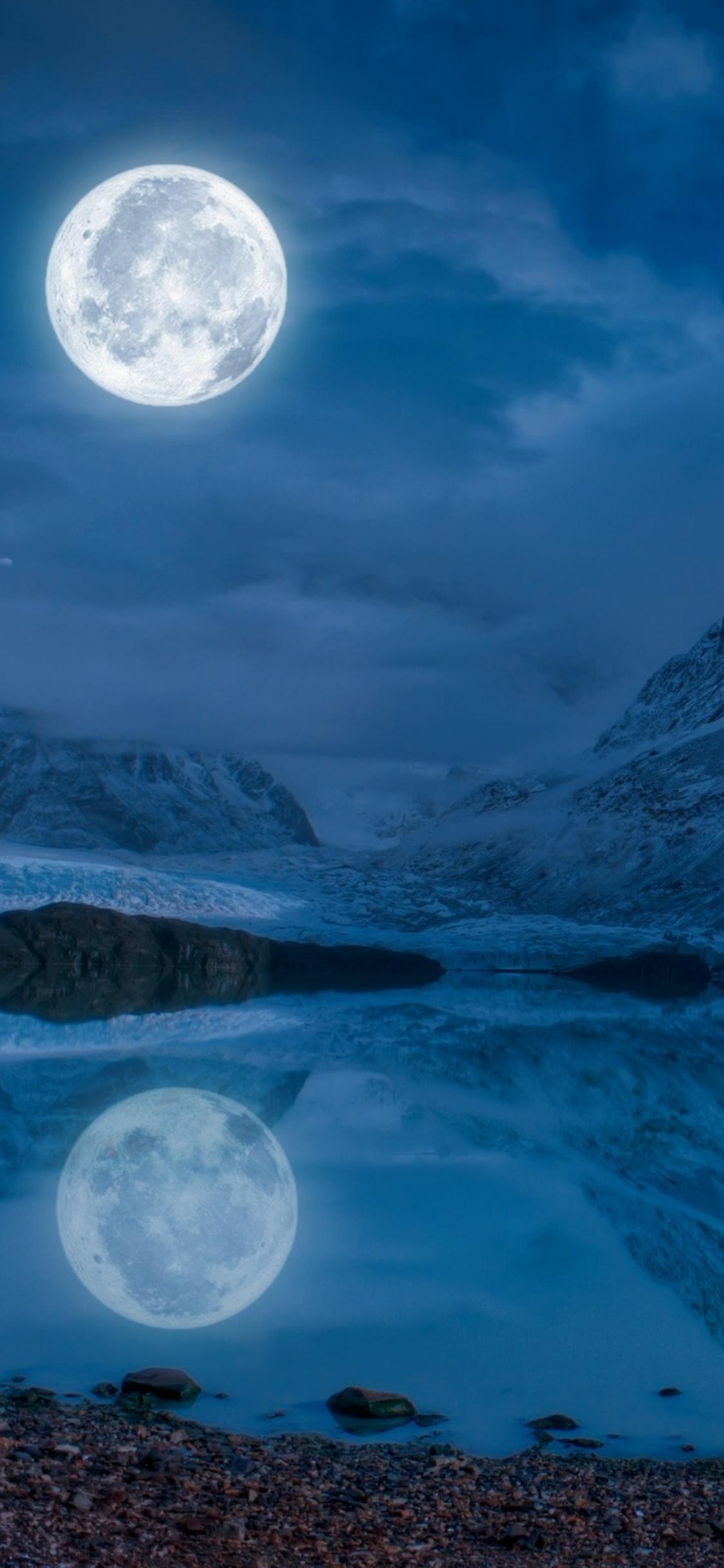 1125x2436 Full Moon Near Snowcap Mountain Iphone Xs Iphone