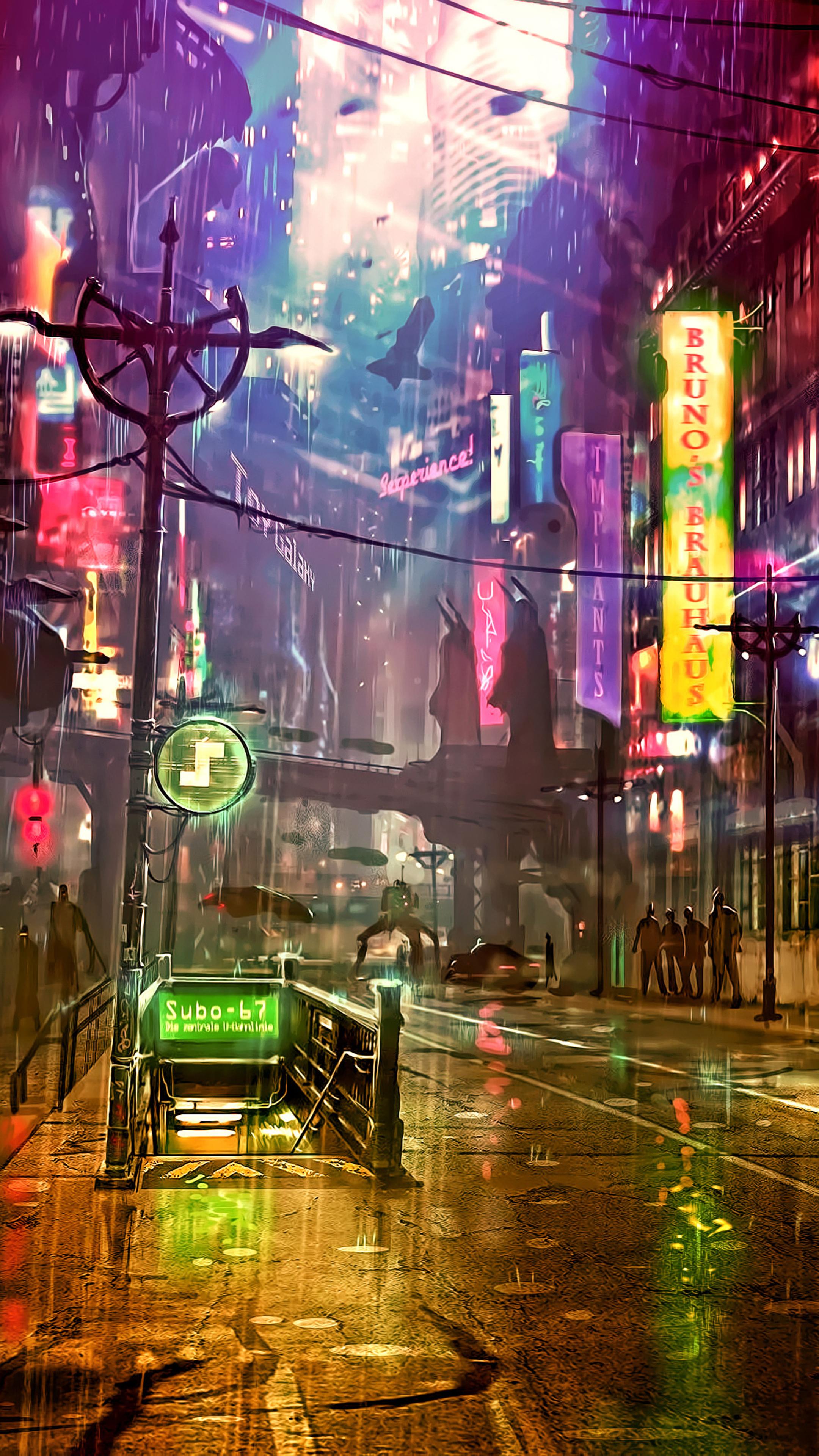 2160x3840 futuristic city cyberpunk neon street digital - Art wallpaper 2160x3840 ...