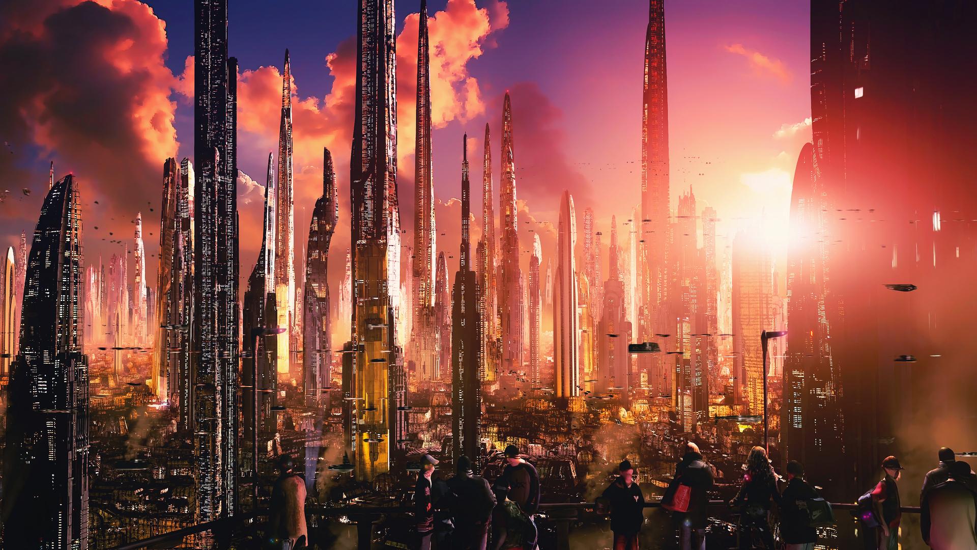 Futuristic City Tall Buildings Concept Art 4k 8o