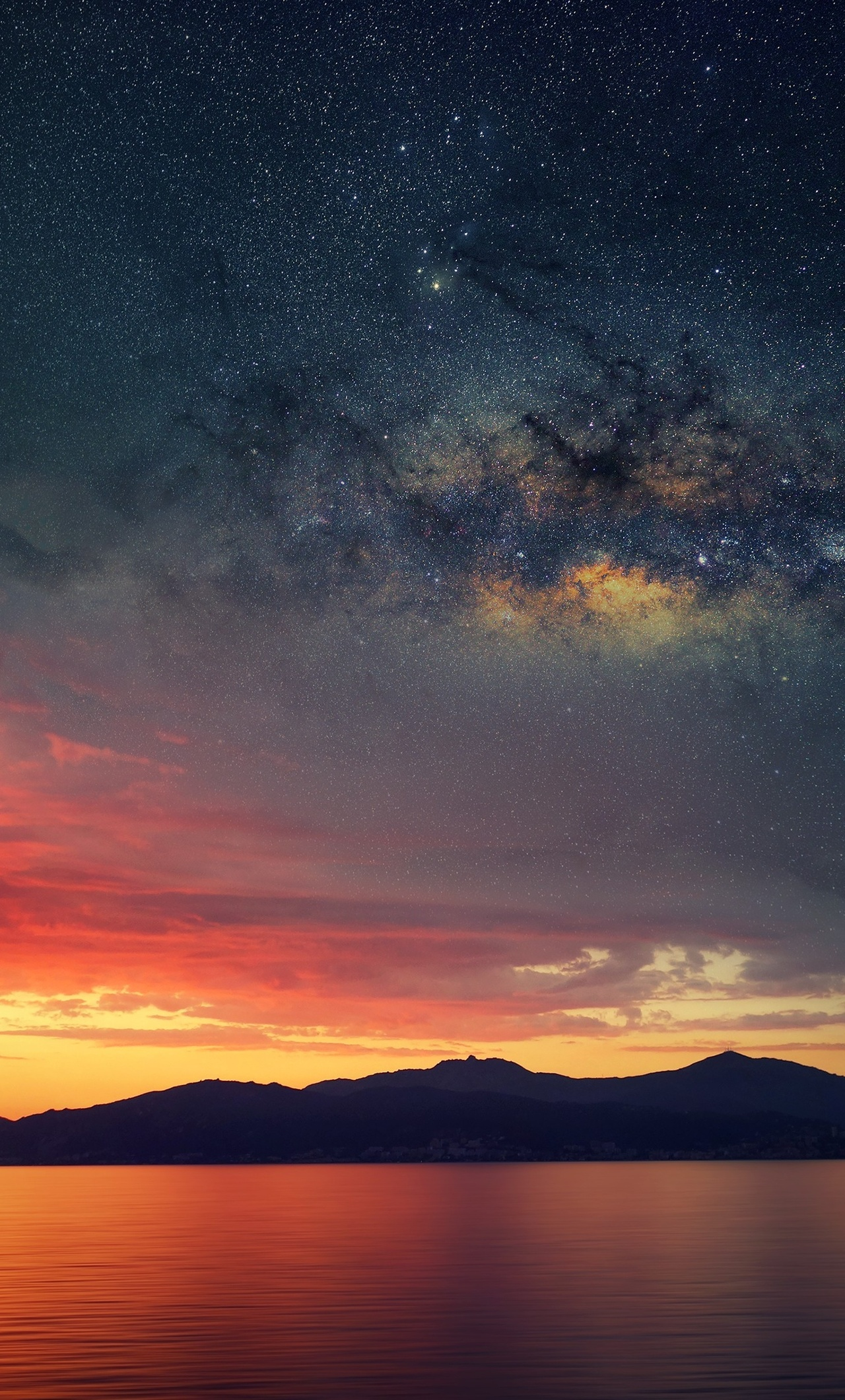 Galaxy Blended Landscape Mountains Sunset Pl