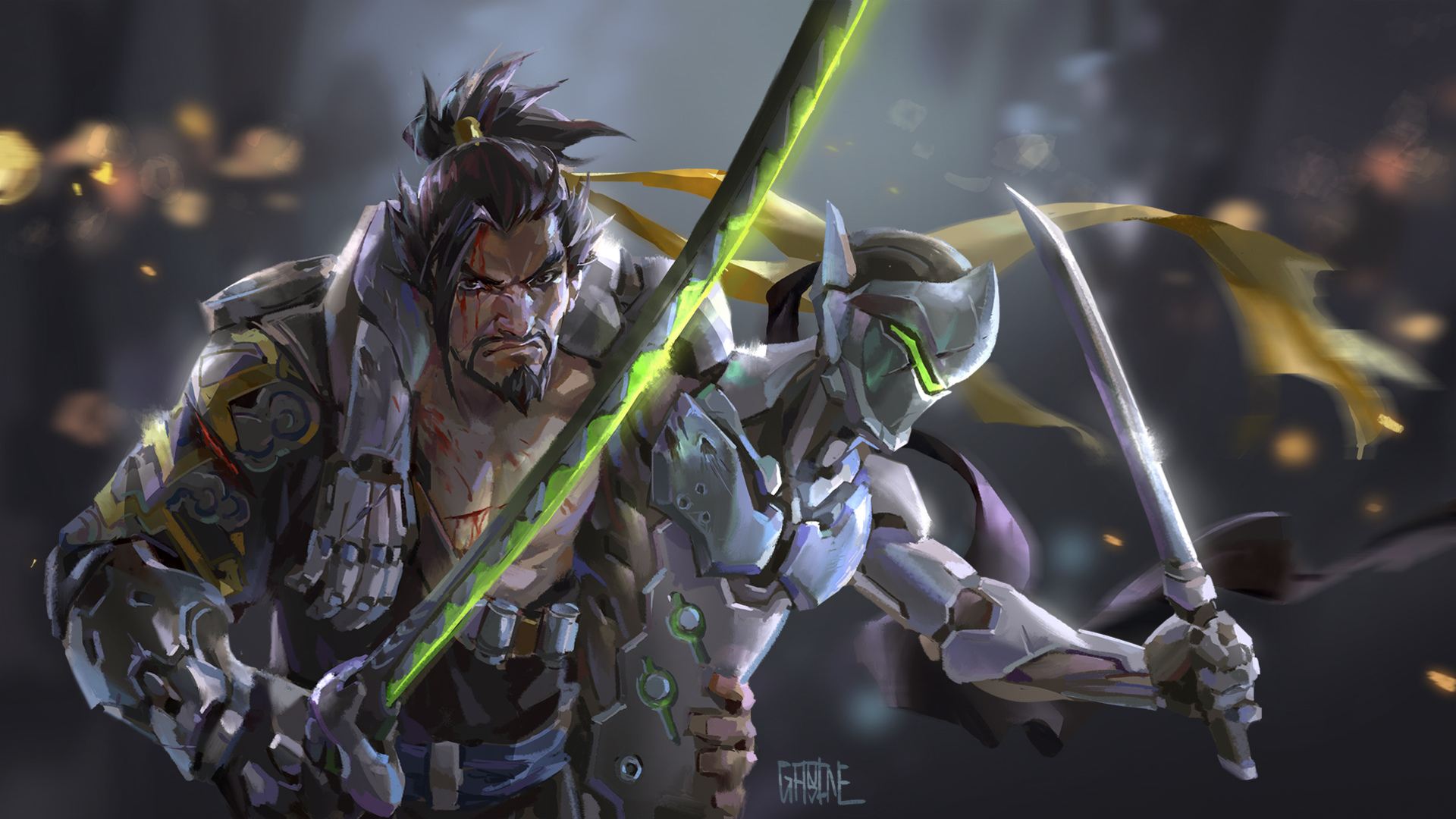 1920x1080 Genji Hanzo Overwatch Artwork Laptop Full Hd 1080p