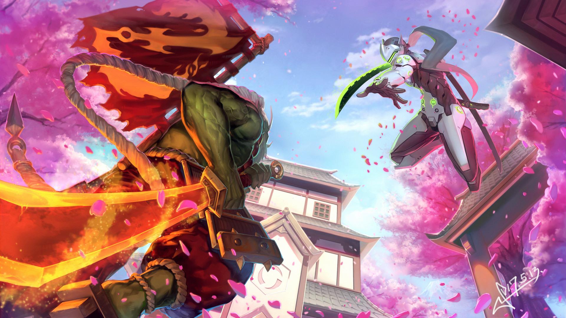 Overwatch Wallpaper 1080p Download Free Cool High: 1920x1080 Genji Overwatch Sakura Samurai Laptop Full HD