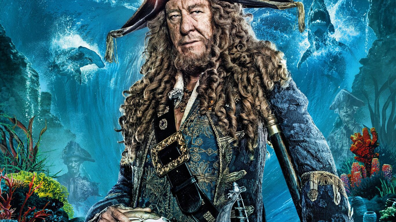 1366x768 geoffrey rush in pirates of the caribbean dead men tell no tales movie 1366x768 - Pirates of the caribbean images hd ...