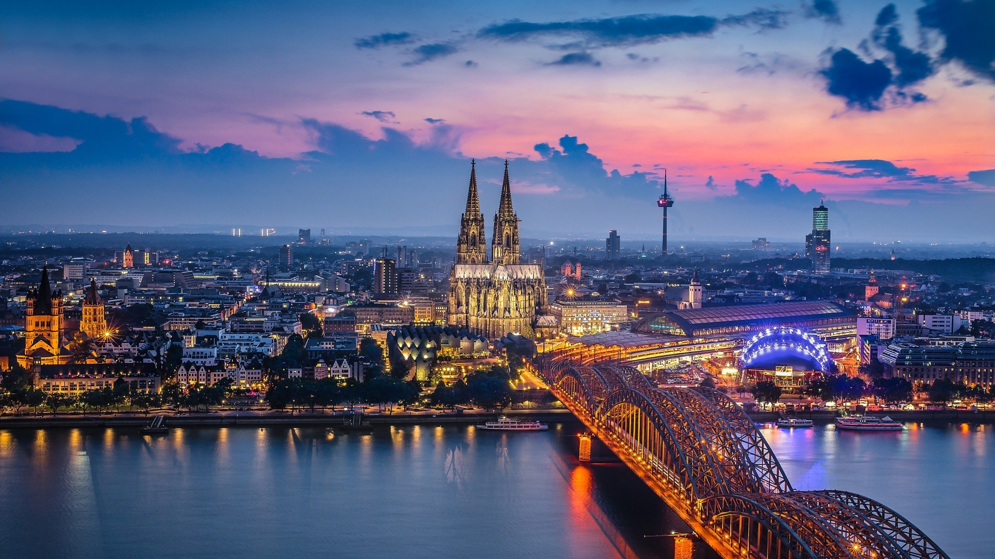 2048x1152 Germany Cologne Bridge Building City 2048x1152 ...