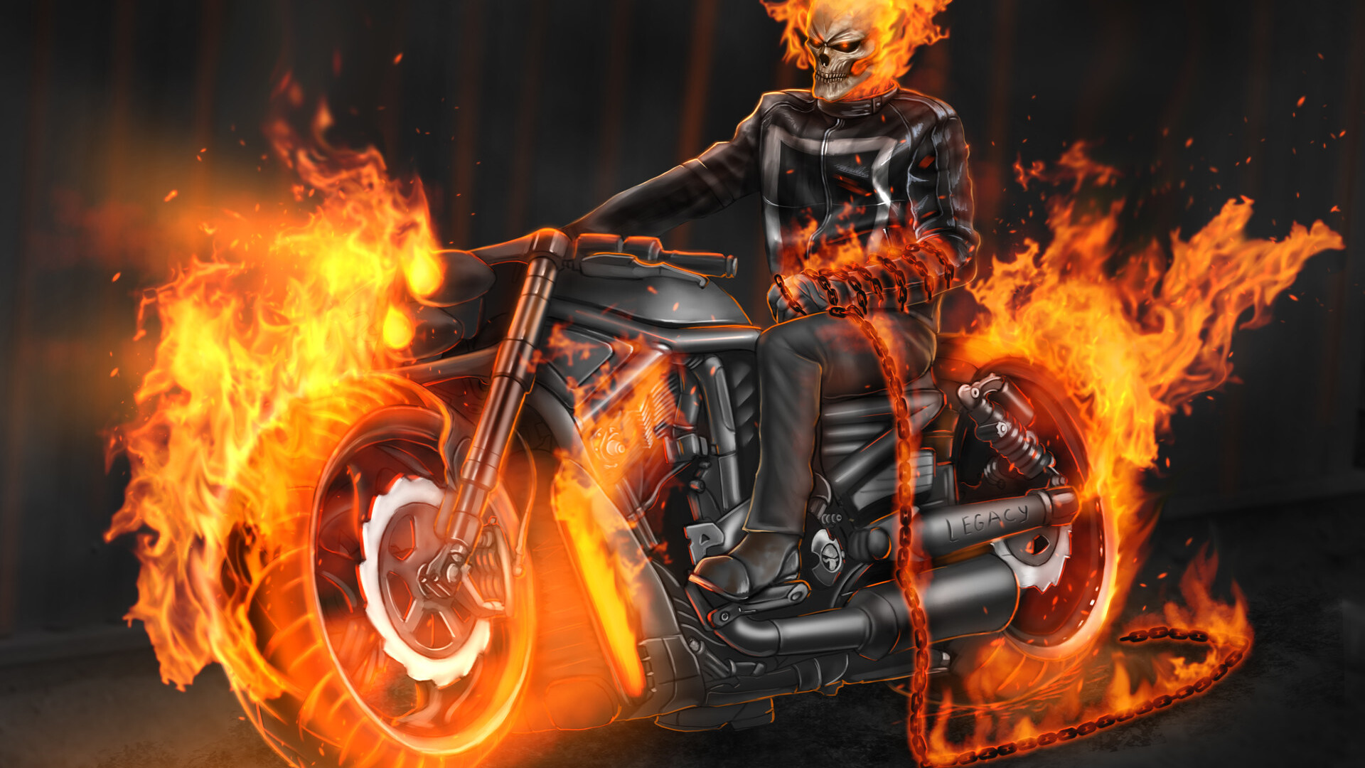 1920x1080 Ghost Rider In Bike Laptop Full Hd 1080p Hd 4k