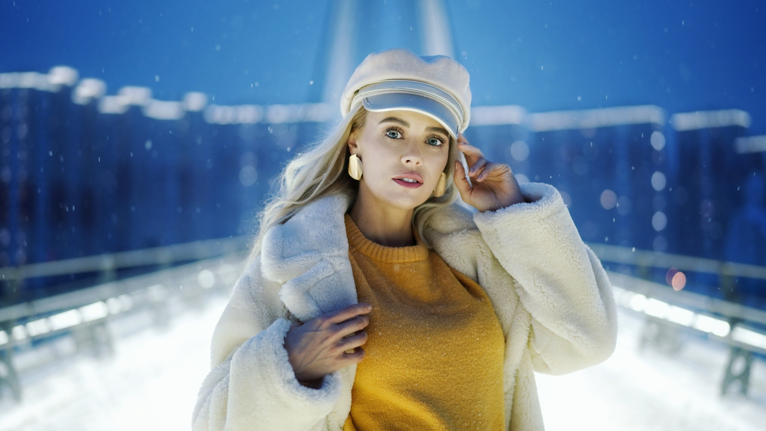 2560x1440 Girl In Snow Winter Outdoors 1440p Resolution Hd 4k Wallpapers Images Backgrounds Photos And Pictures