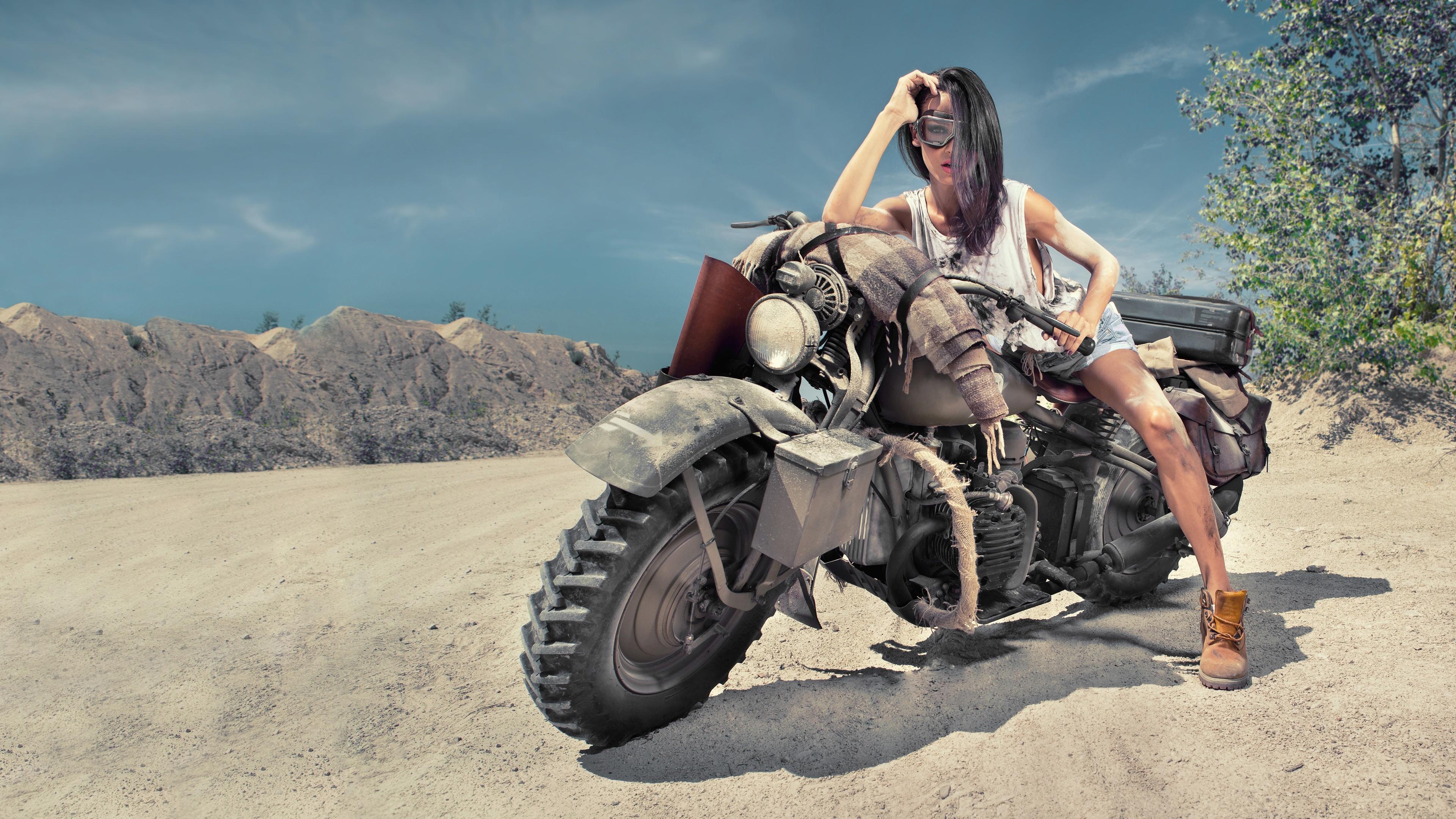 3840x2160 Girl On Desert Offroad Bike 4k Hd 4k Wallpapers