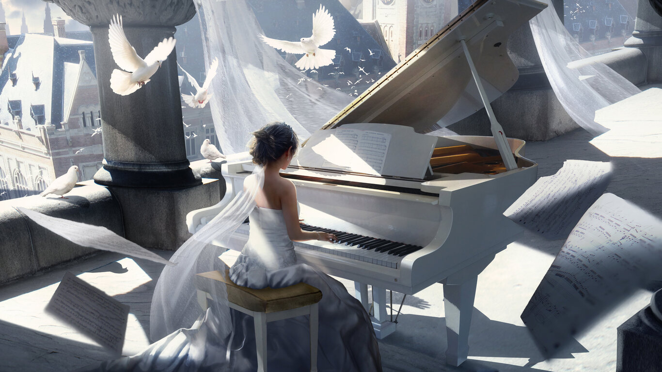 1366x768 Girl Playing Piano Painting 4k 1366x768 Resolution Hd 4k Wallpapers Images Backgrounds Photos And Pictures