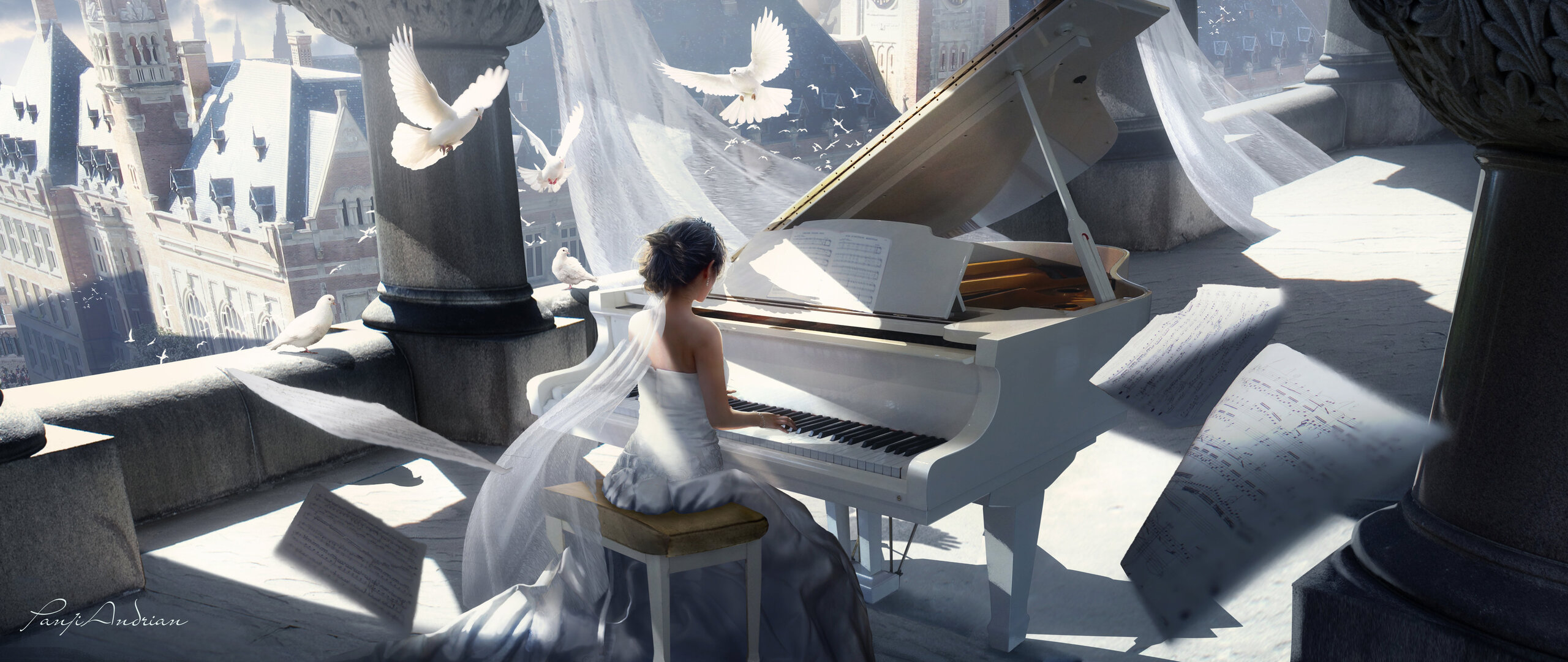 2560x1080 Girl Playing Piano Painting 4k 2560x1080 Resolution Hd 4k Wallpapers Images Backgrounds Photos And Pictures