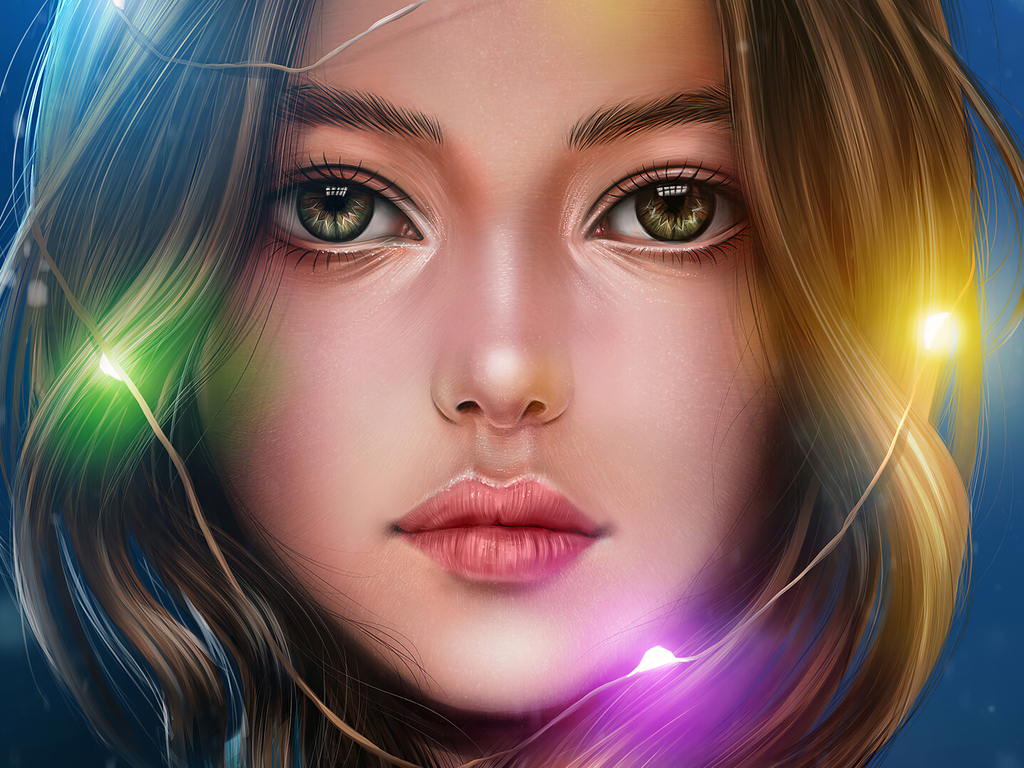 1024x768 Girl Portrait Lights Hanging Around Head 4k ...