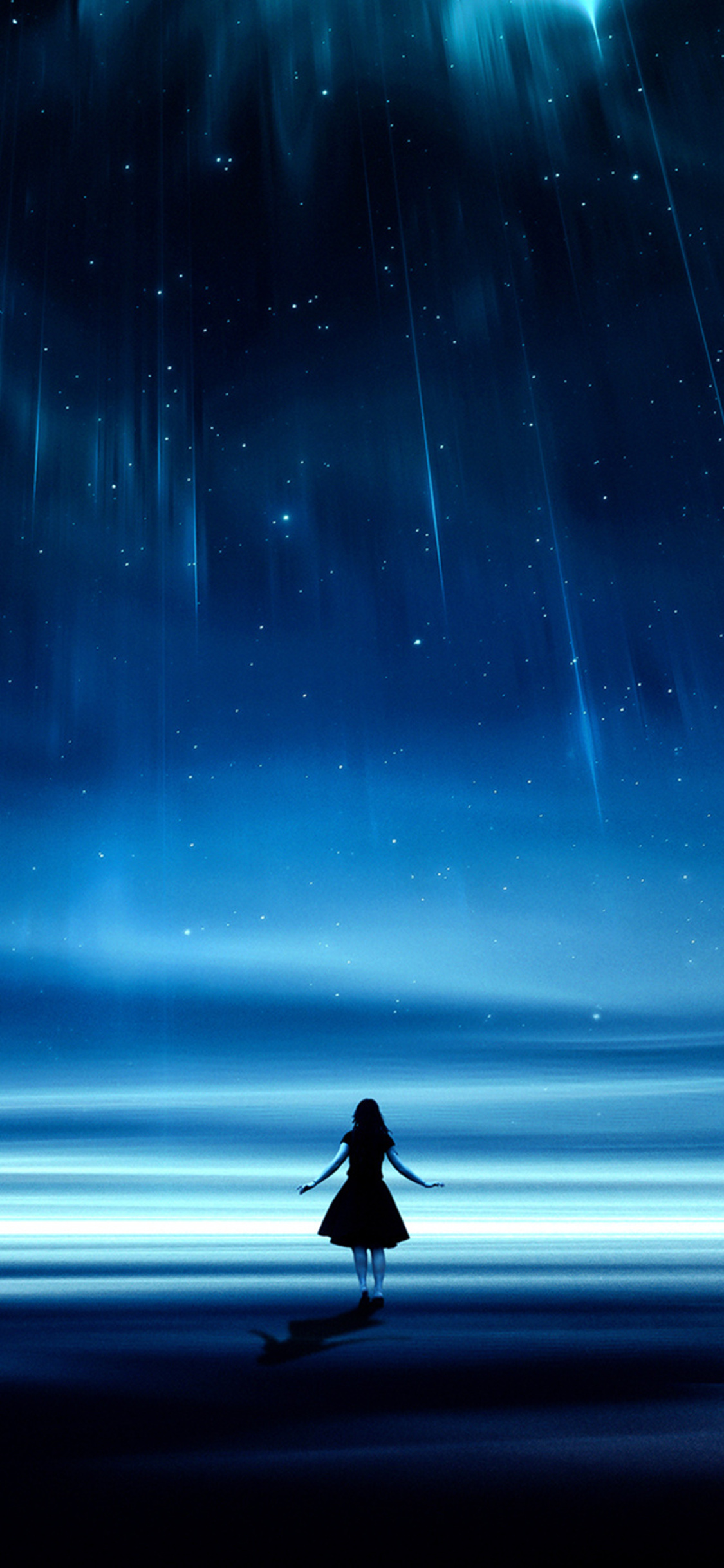 1125x2436 Girl Starry Night Dreamscape Iphone Xs Iphone 10
