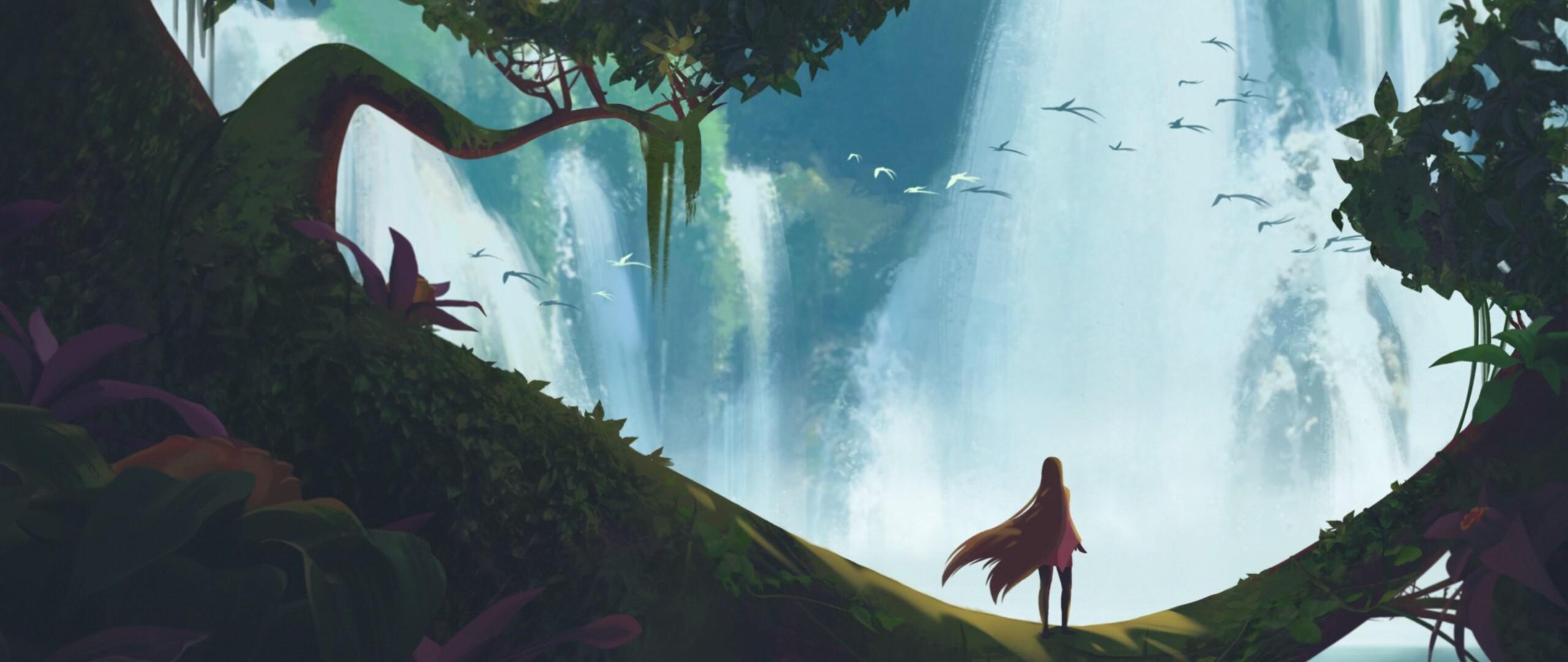 2560x1080 Final Fantasy Xv Artwork 2560x1080 Resolution Hd: 2560x1080 Girl Waterfall Fantasy Art 2560x1080 Resolution