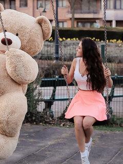 240x320 Girl With Big Teddy Bear On Swing Nokia 230 Nokia 215