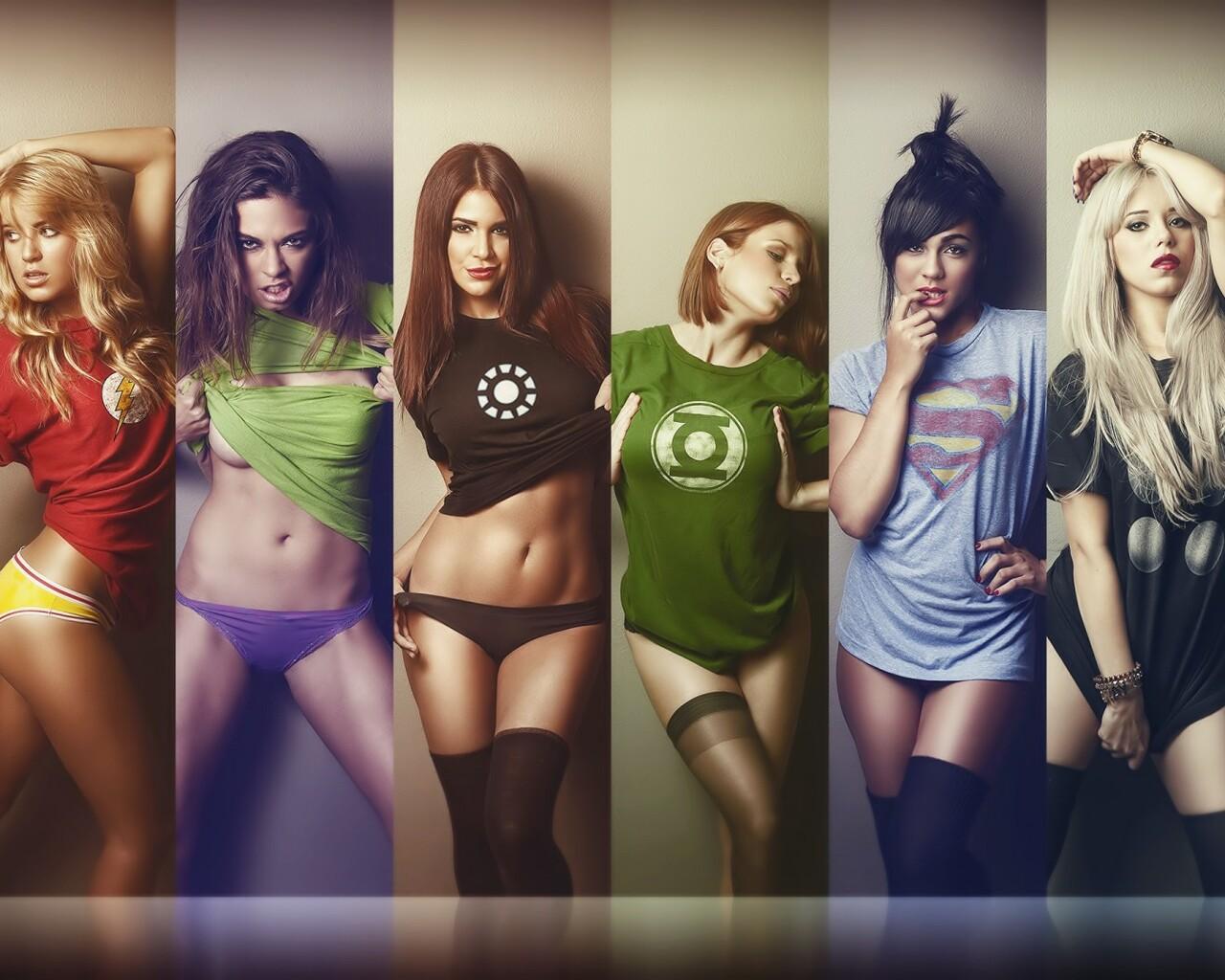 обои на рабочий стол девушки в футболках супергероев № 243110  скачать
