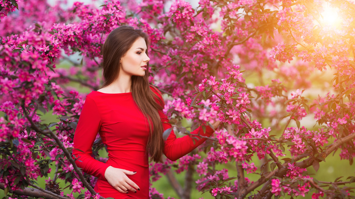 1366x768 Girls With Flowers 4k 1366x768 Resolution Hd 4k Wallpapers Images Backgrounds Photos And Pictures