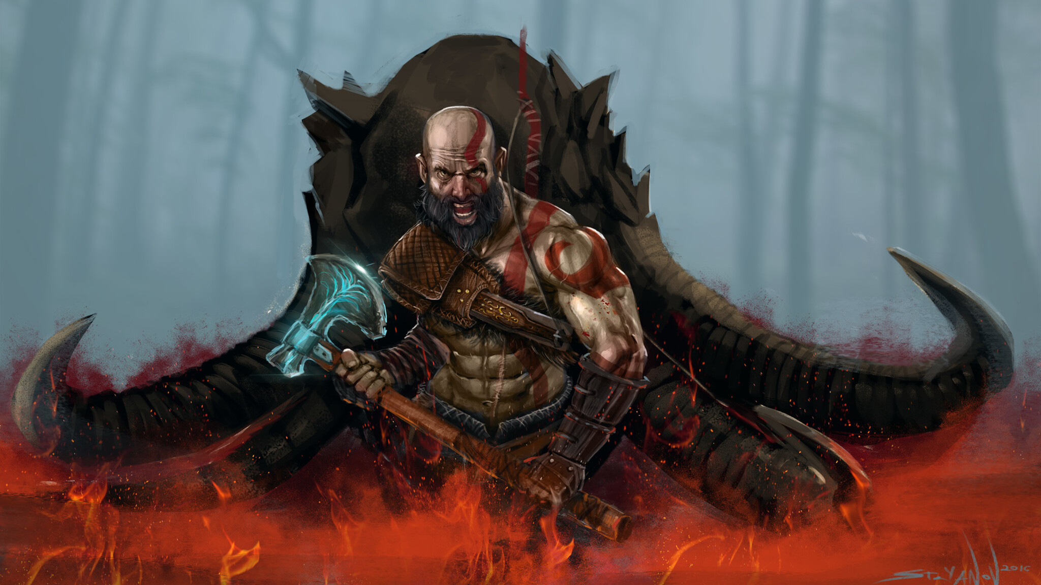2048x1152 God Of War 4 Art 2048x1152 Resolution Hd 4k Wallpapers
