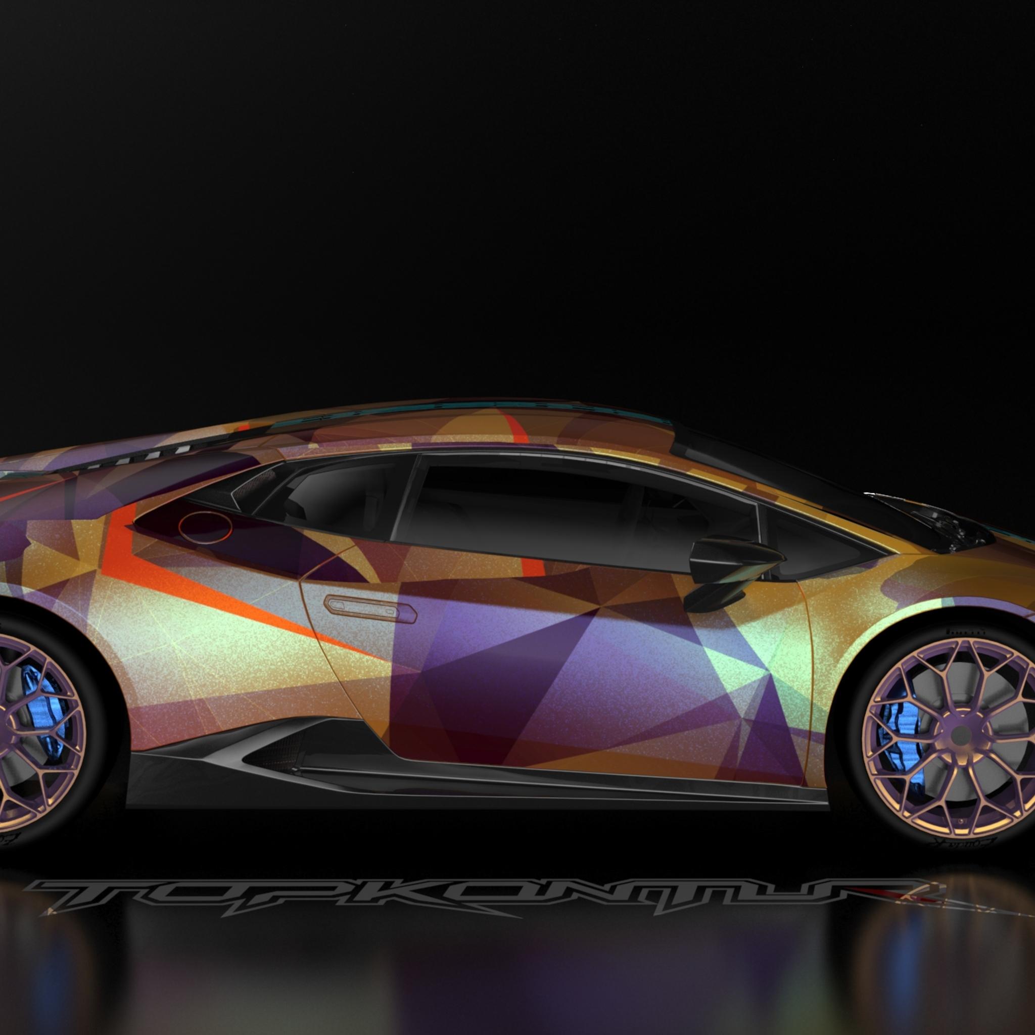 2048x2048 Gold And Wine Lamborghini Huracan Car Ipad Air Hd