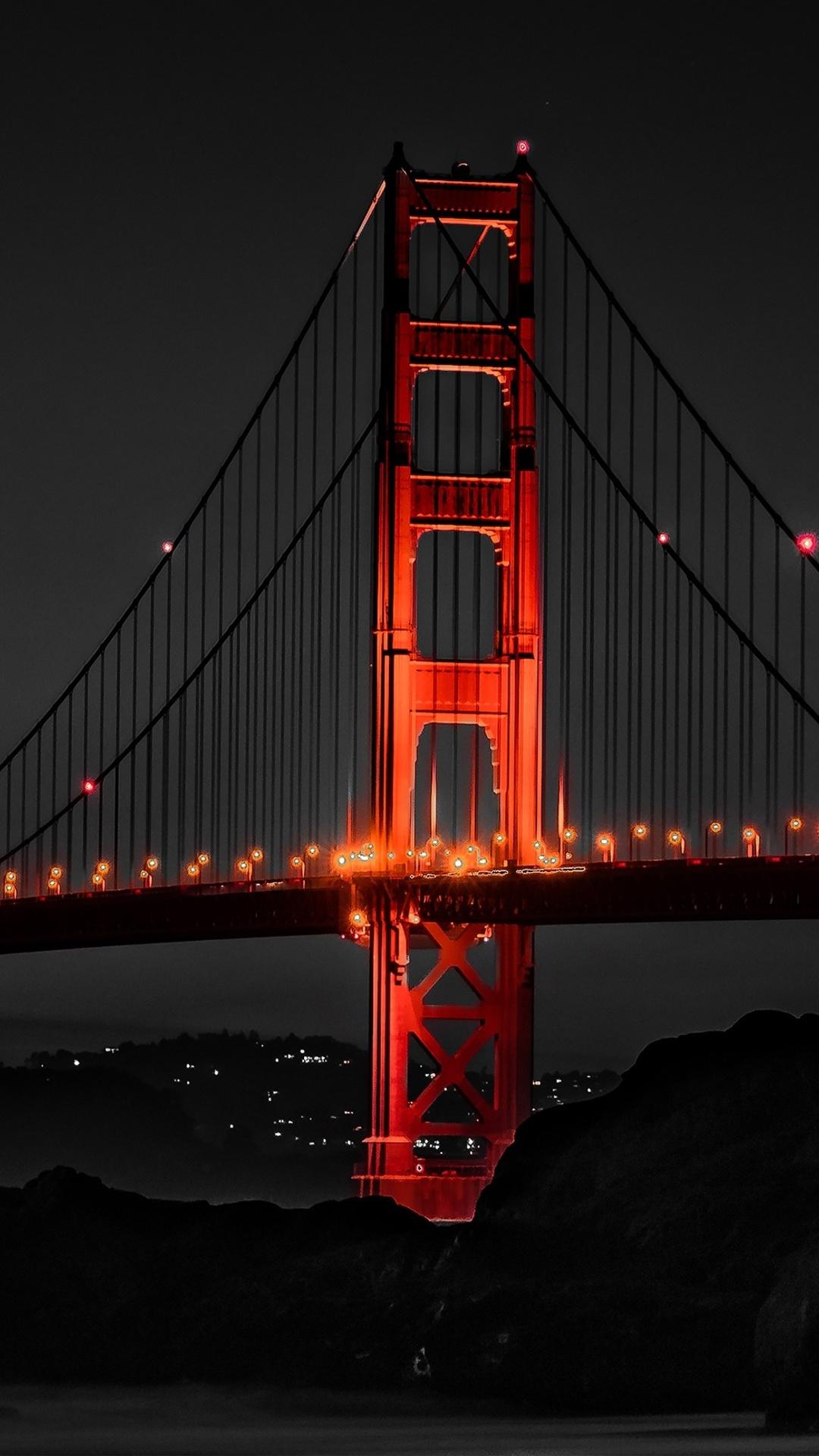 1080x1920 Golden Gate Bridge San Francisco Night Iphone 7 6s 6