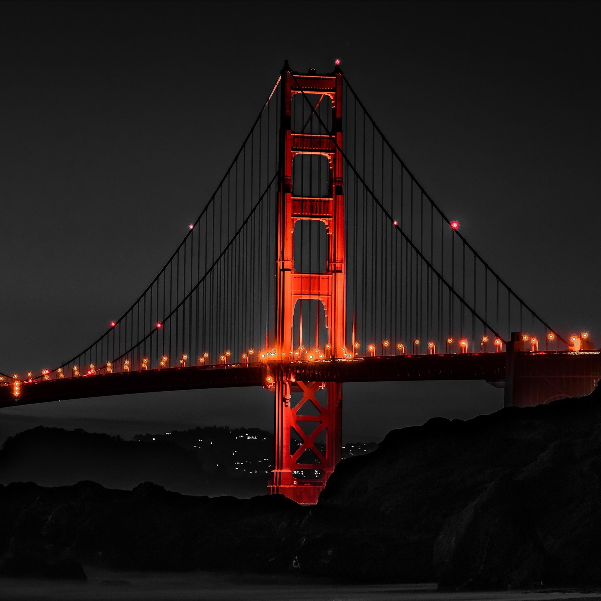 2048x2048 Golden Gate Bridge San Francisco Night Ipad Air
