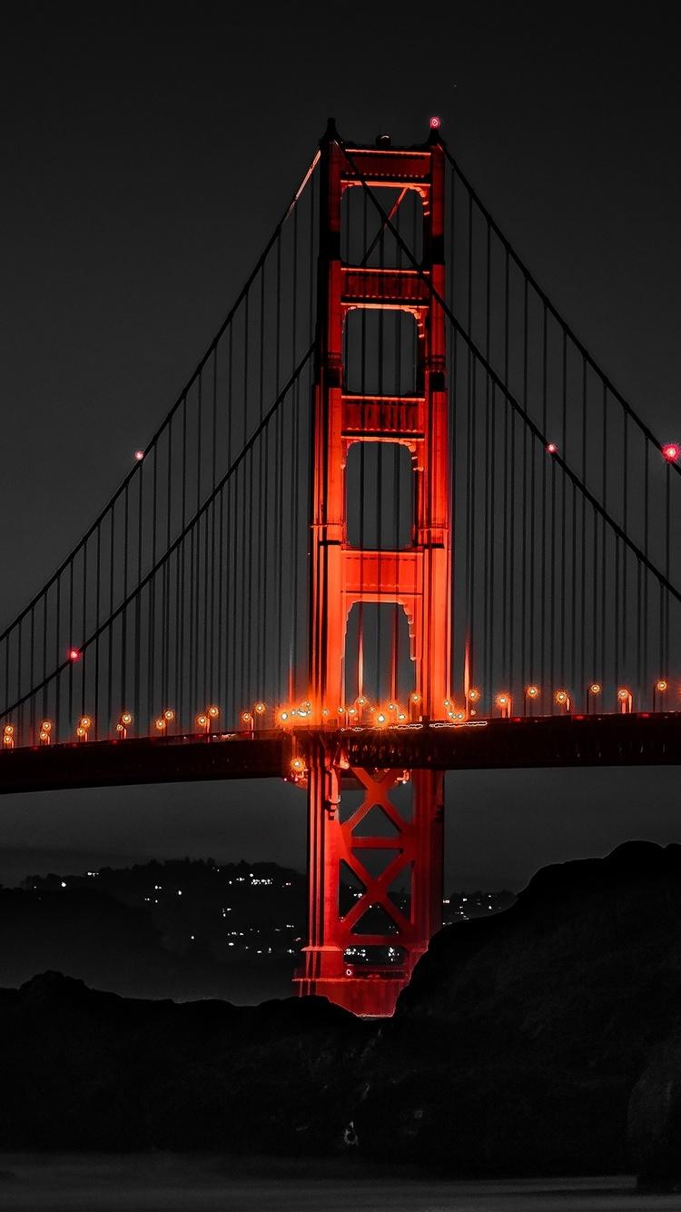 750x1334 Golden Gate Bridge San Francisco Night Iphone 6