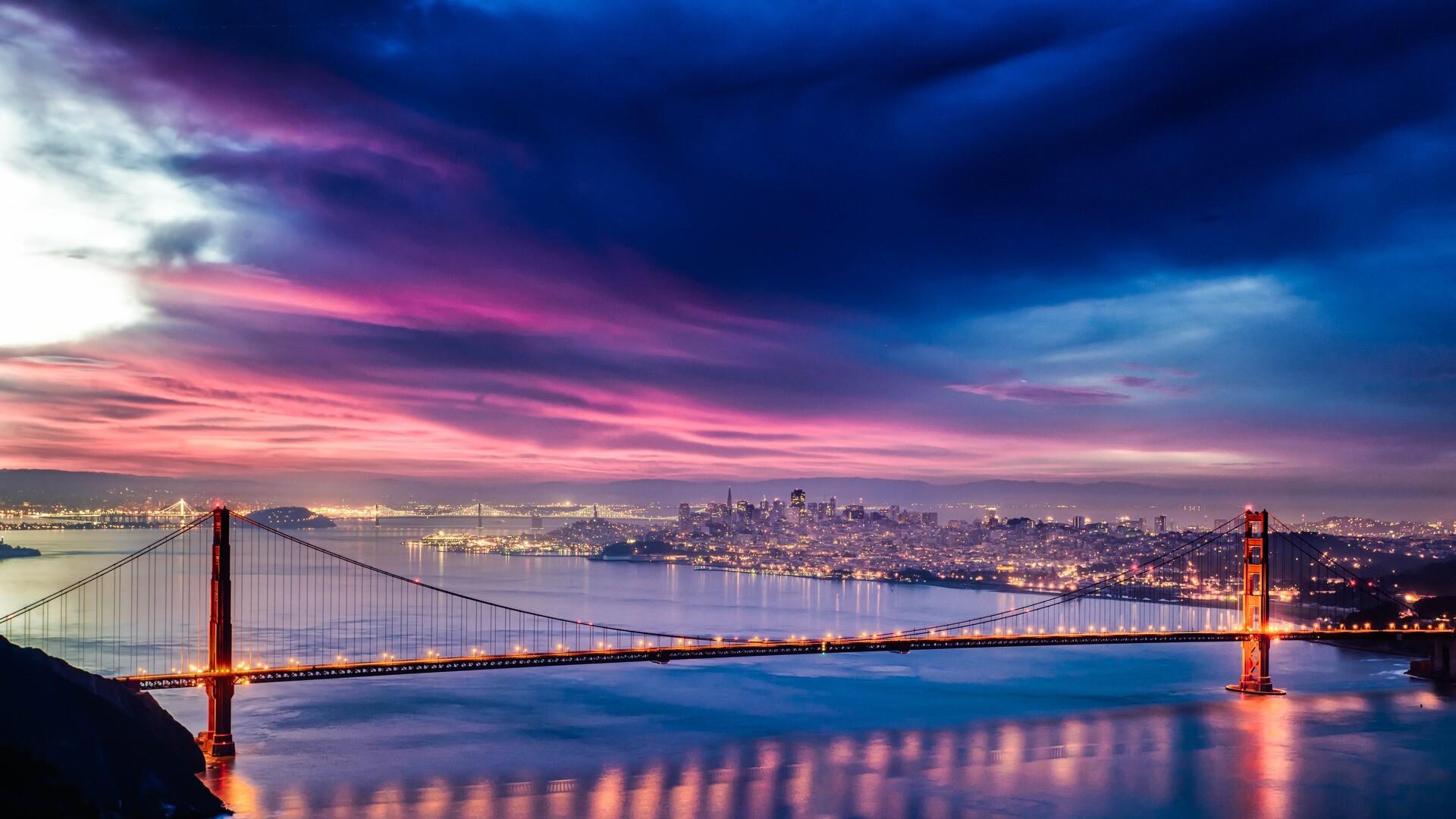 1920x1080 Golden Gate Bridge Sunset Night Time 4k Hd ...