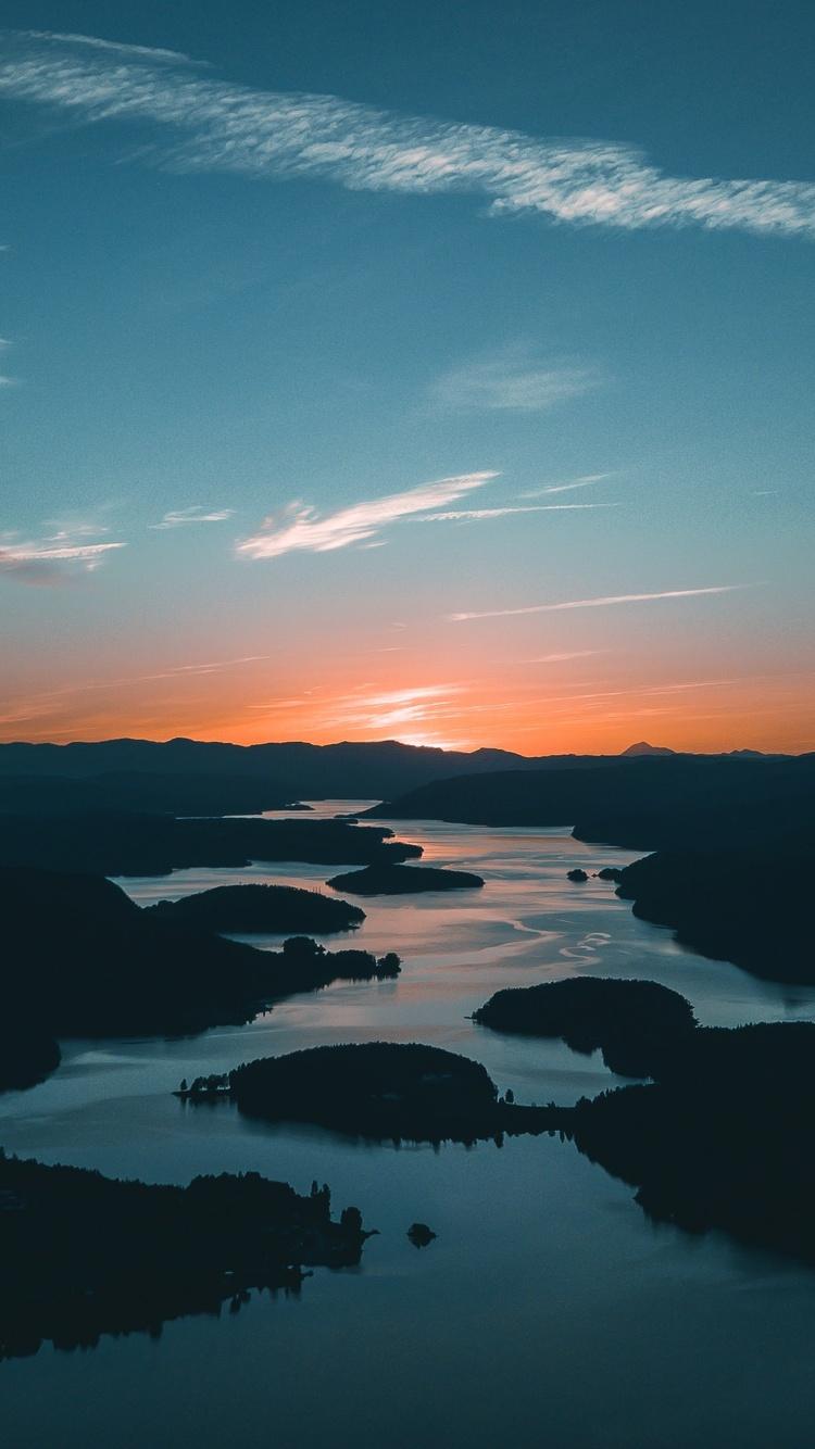 750x1334 Golden Hour Landscape River Reflection Seashore 4k