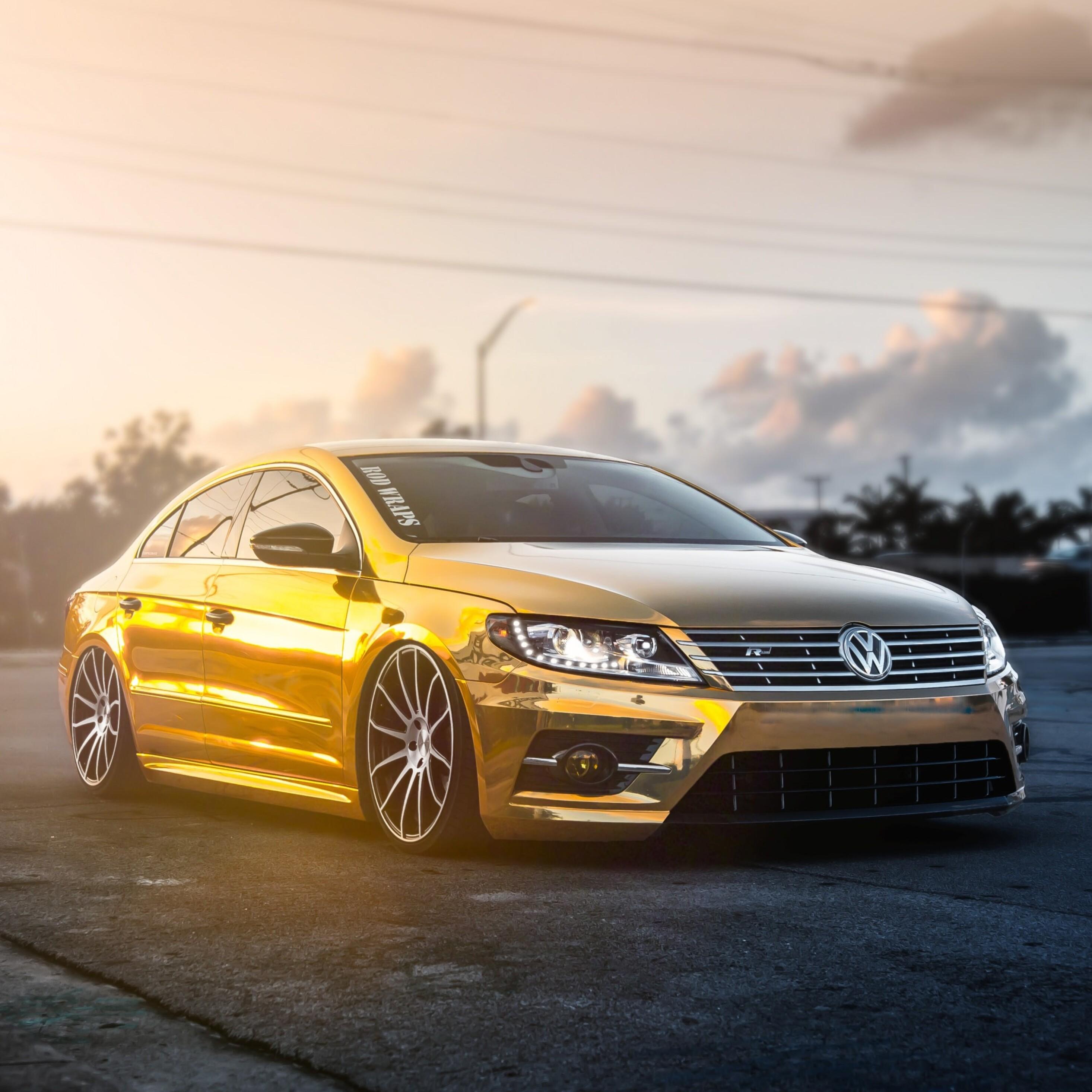 Volkswagen Car Wallpaper: 2932x2932 Golden Volkswagen Pasat Ipad Pro Retina Display
