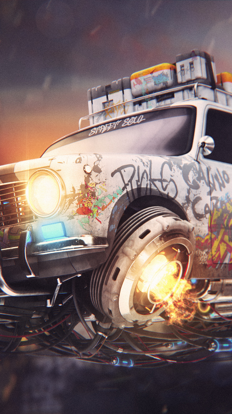 750x1334 Graffiti Cyberpunk Car 4k Iphone 6 Iphone 6s