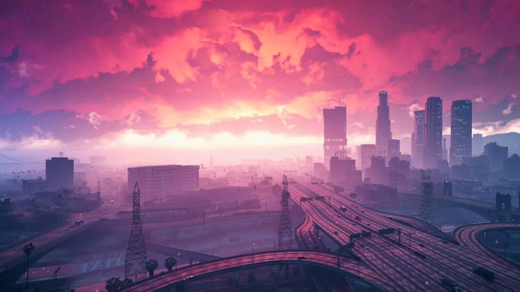 2048x1152 Gta V Redux Nature 2048x1152 Resolution Hd 4k: 2048x1152 Grand Theft Auto V Sunset Artwork 2048x1152