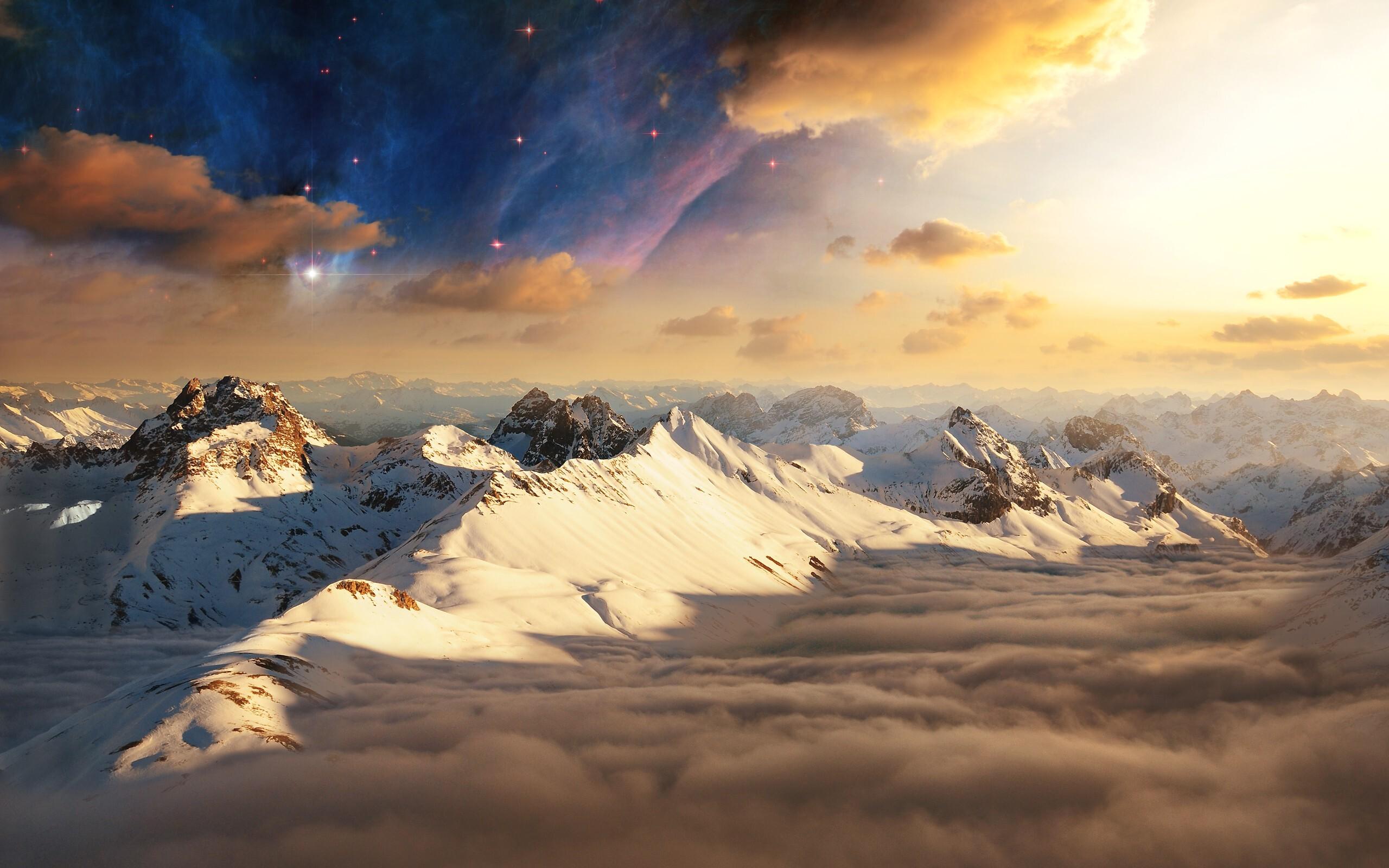 лучи солнце зима горы без смс