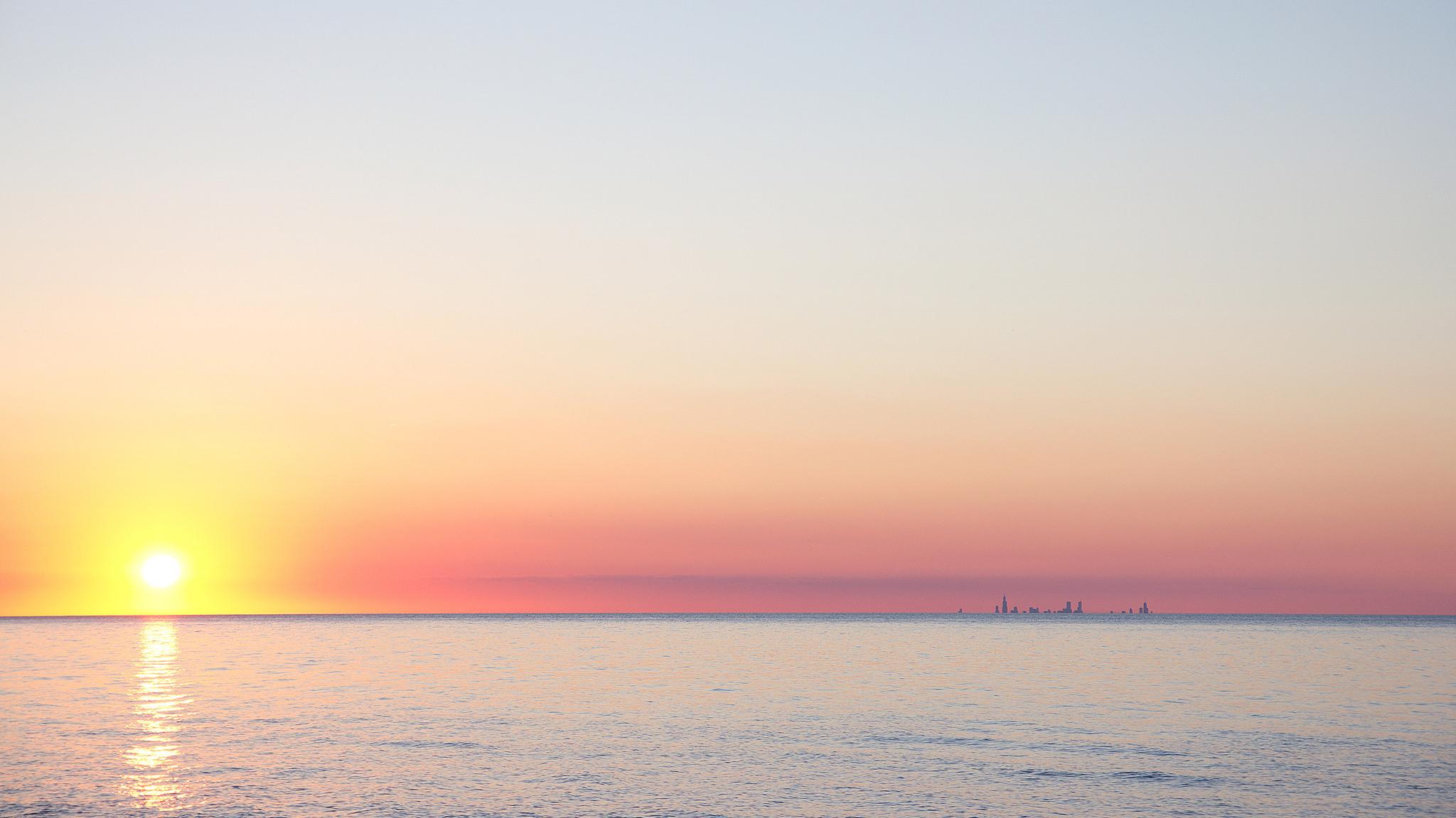 природа деревья море солнце горизонт вечер загрузить