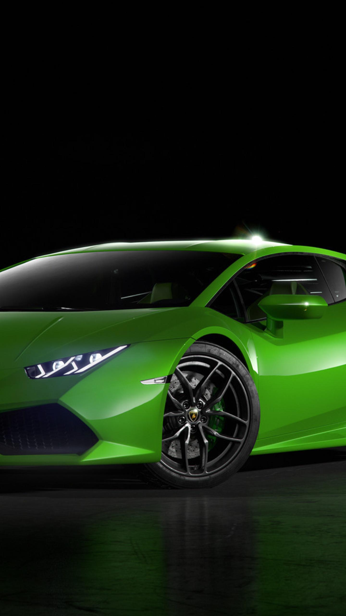 1440x2560 Green Lamborghini Huracan Front Samsung Galaxy S6 S7