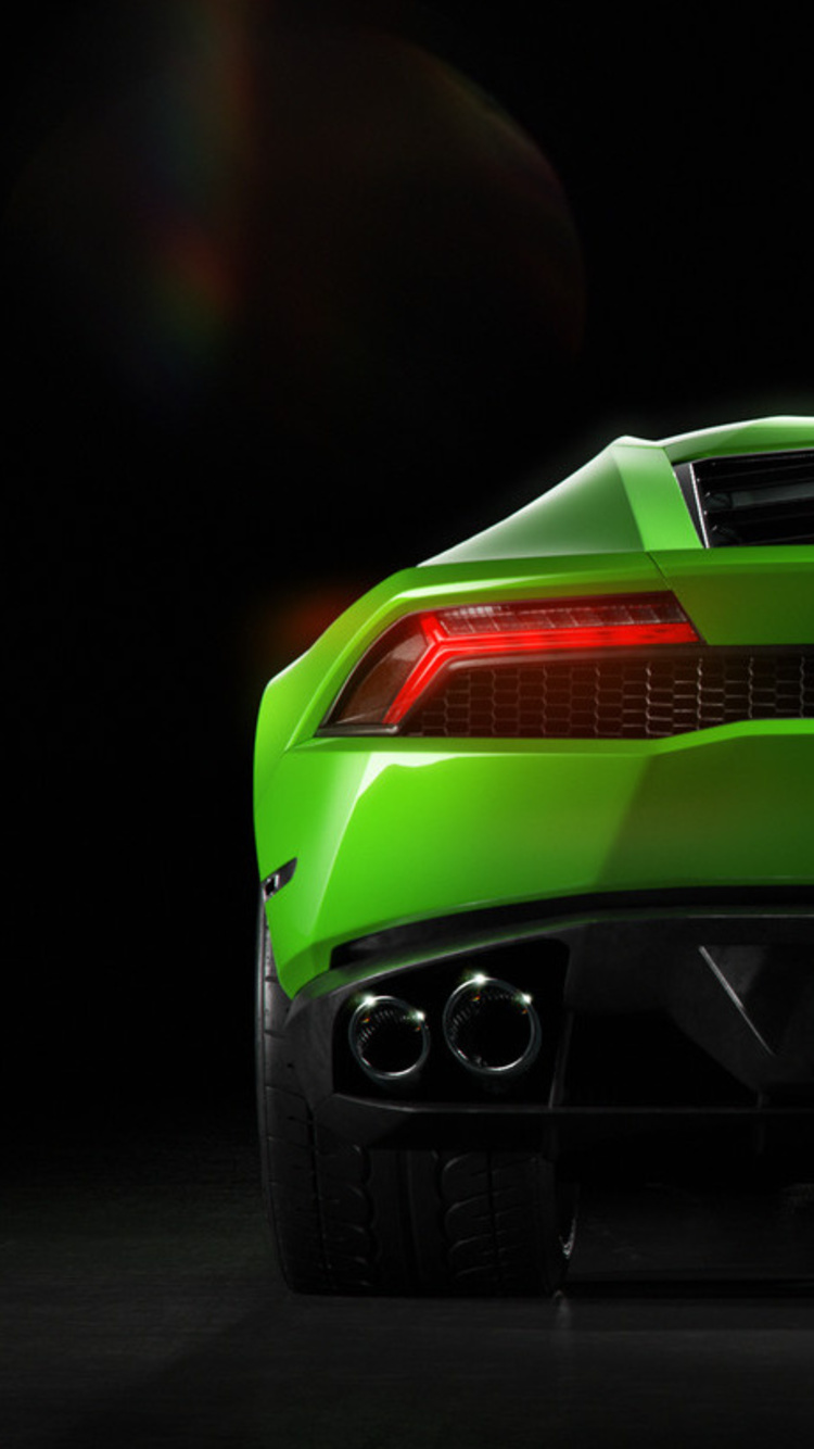 750x1334 Green Lamborghini Huracan Rear Iphone 6 Iphone 6s