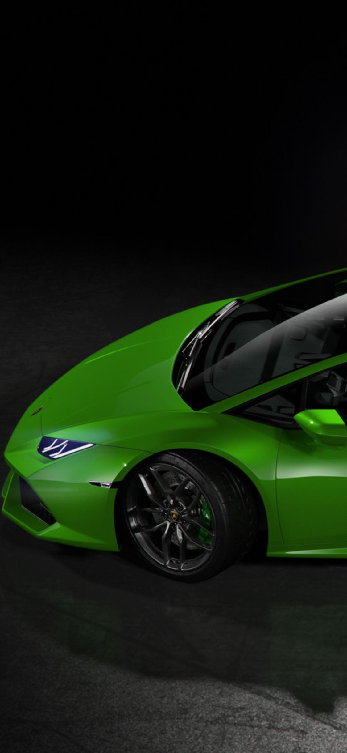 1125x2436 Green Lamborghini Huracan Side View Iphone Xs