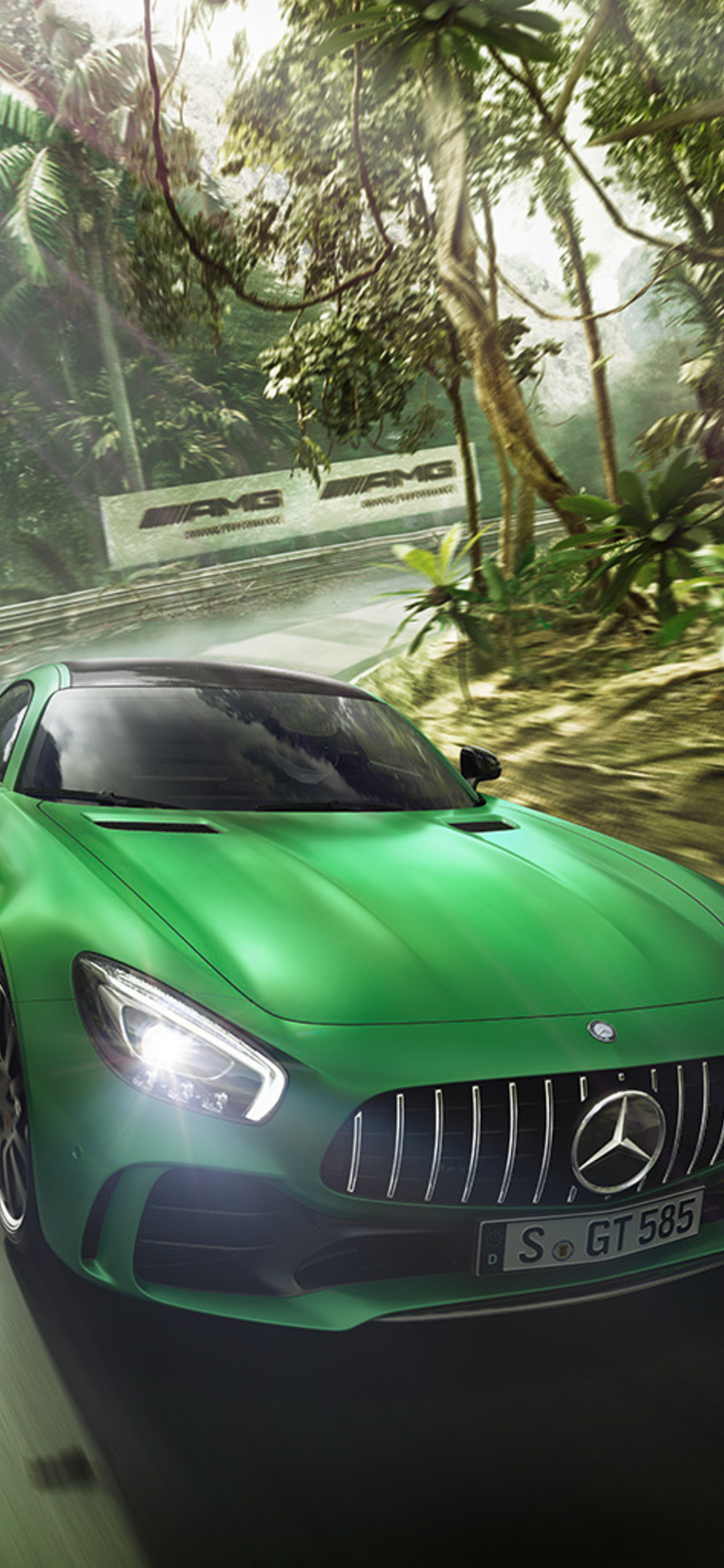 1125x2436 Green Mercedes Benz Amg Gt R Iphone Xs Iphone 10