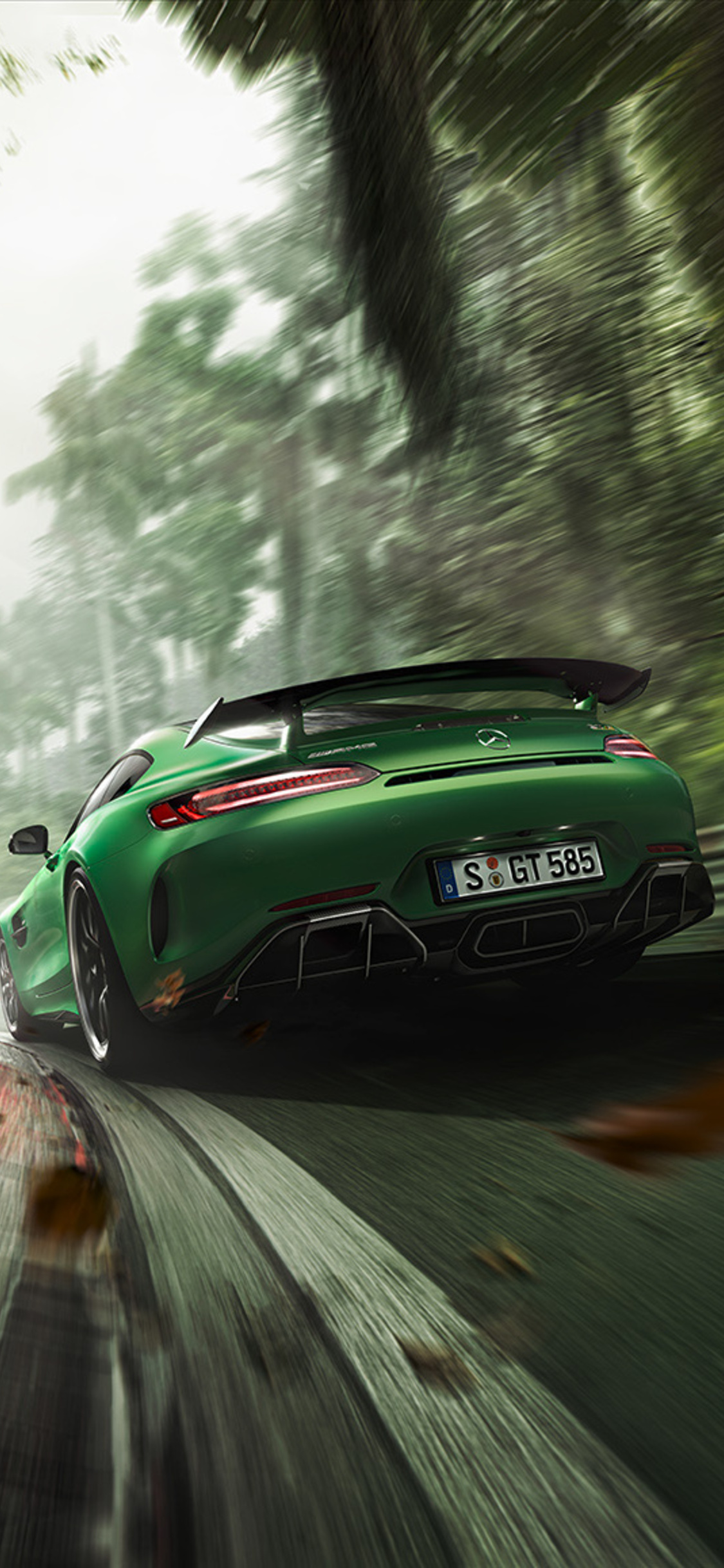 1125x2436 Green Mercedes Benz AMG GT R Rear Iphone XS ...