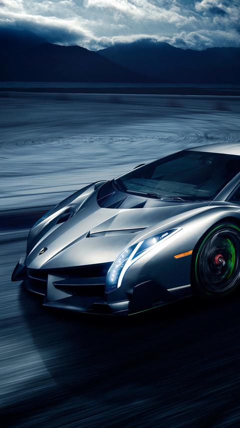 480x854 Grey Lamborghini Veneno In The Night Android One Hd 4k