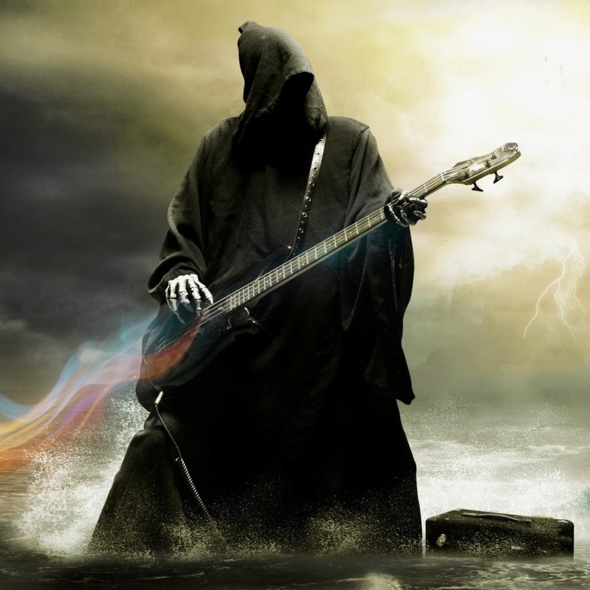 Skull Guitar Wallpaper Hd: 2048x2048 Grim Reaper Playing Guitar Ipad Air HD 4k
